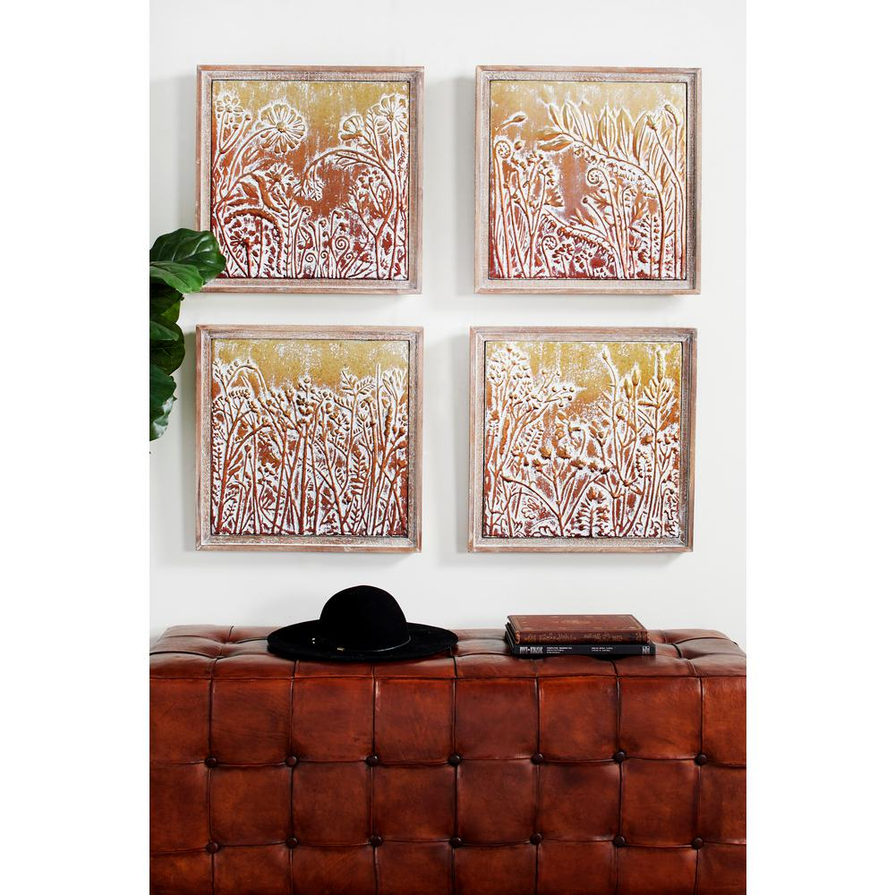 Well Known Metal Wall Decor (Set Of 4) Intended For Litton Lane Metal Gold And Copper Embossed Botanical And Floral Wall (View 20 of 20)