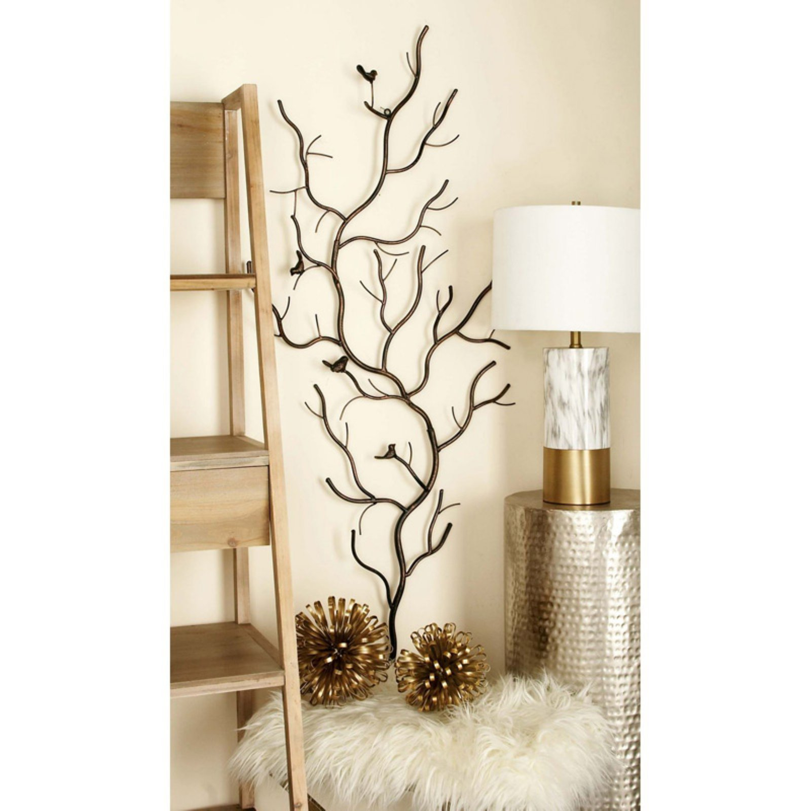 Well Liked Leaves Metal Sculpture Wall Decor By Winston Porter Pertaining To Decmode Metal Wall Sculpture – Branch & Birds (View 16 of 20)