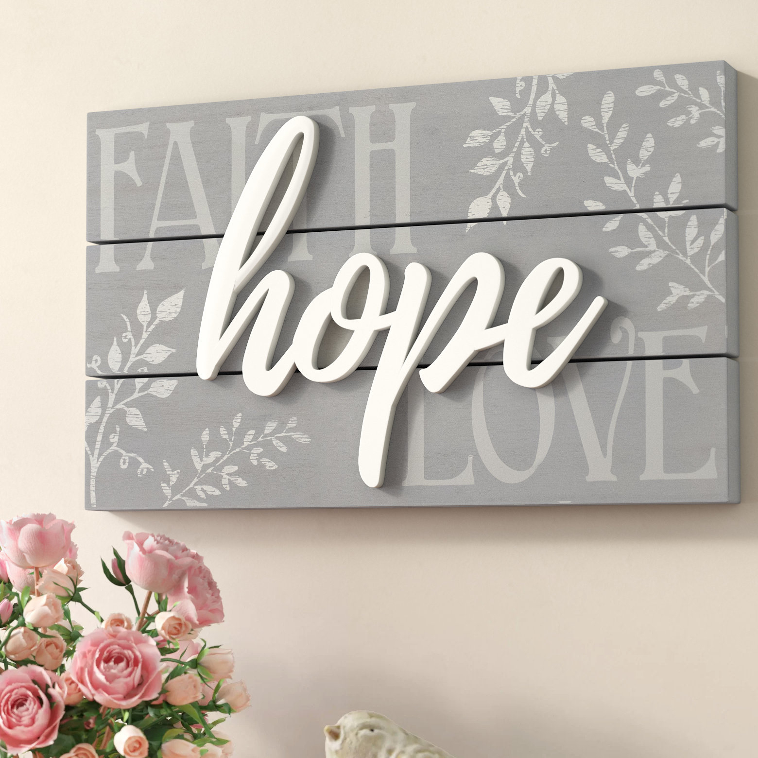 Featured Photo of Faith, Hope, Love Raised Sign Wall Decor by Winston Porter