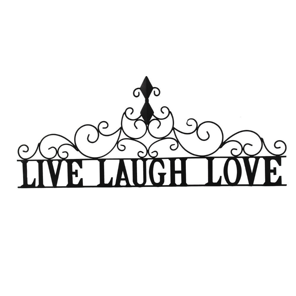 Widely Used Benzara Live Laugh Love Metal Wall Decor, Black (View 8 of 20)