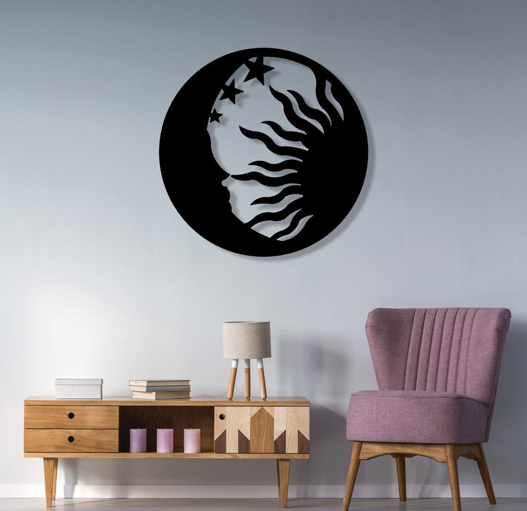 Widely Used Nature Metal Sun Wall Decor Within Sun Moon And Star Theme Metal Wall Art Sculpture Is Give Feel Of (View 20 of 20)