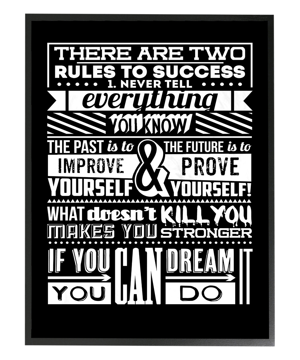 Widely Used Stupell Industries Two Rules To Success Inspirational Typography Within Rectangle Like Yourself Inspirational Typography Wall Plaque (View 19 of 20)