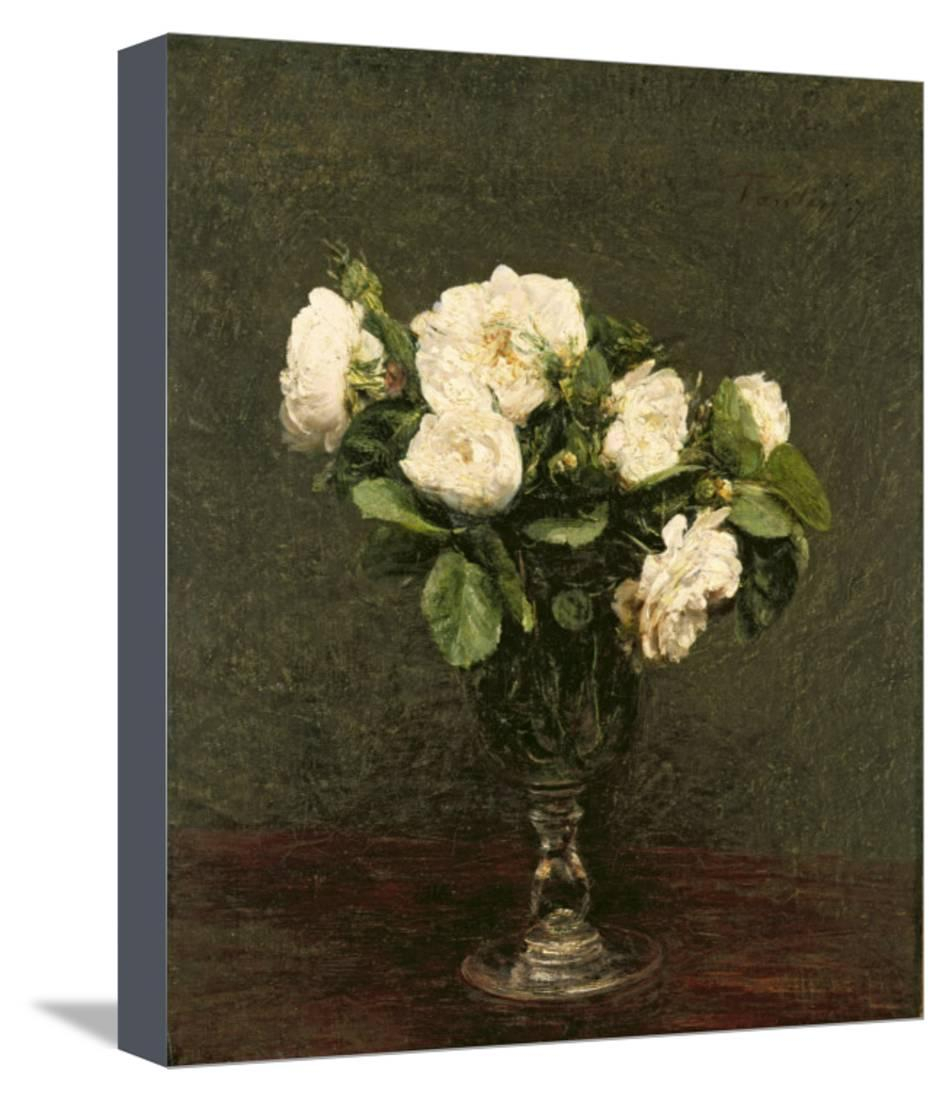 Widely Used White Roses, 1875 Stretched Canvas Print Wall Arthenri Fantin Throughout Latour Wall Decor (Gallery 1 of 20)
