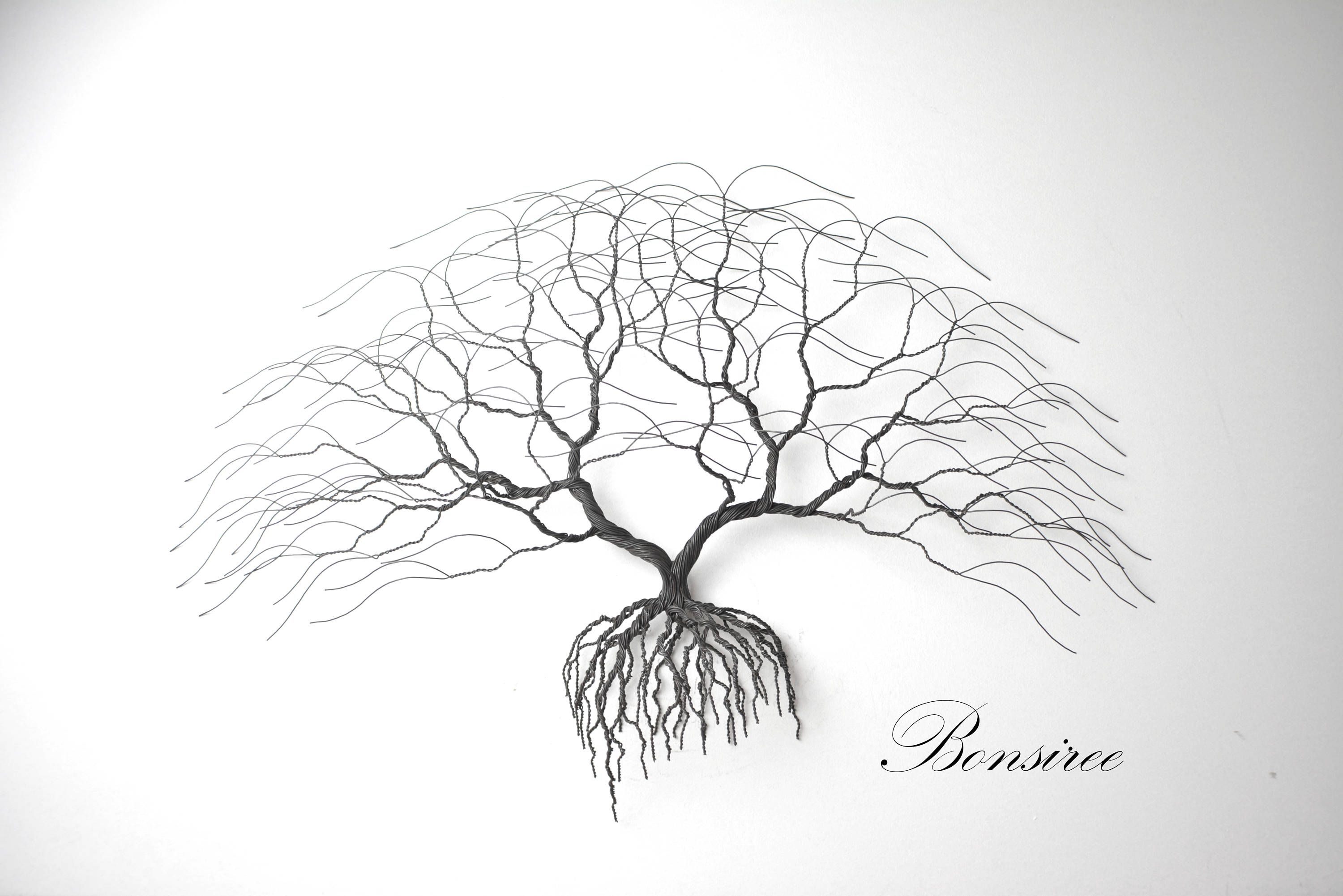 Windswept Tree Wall Decor By World Menagerie Within Popular New Black Metal Tree Wall Art, Luxury Japanise Bonsai Wire Tree (Gallery 6 of 20)