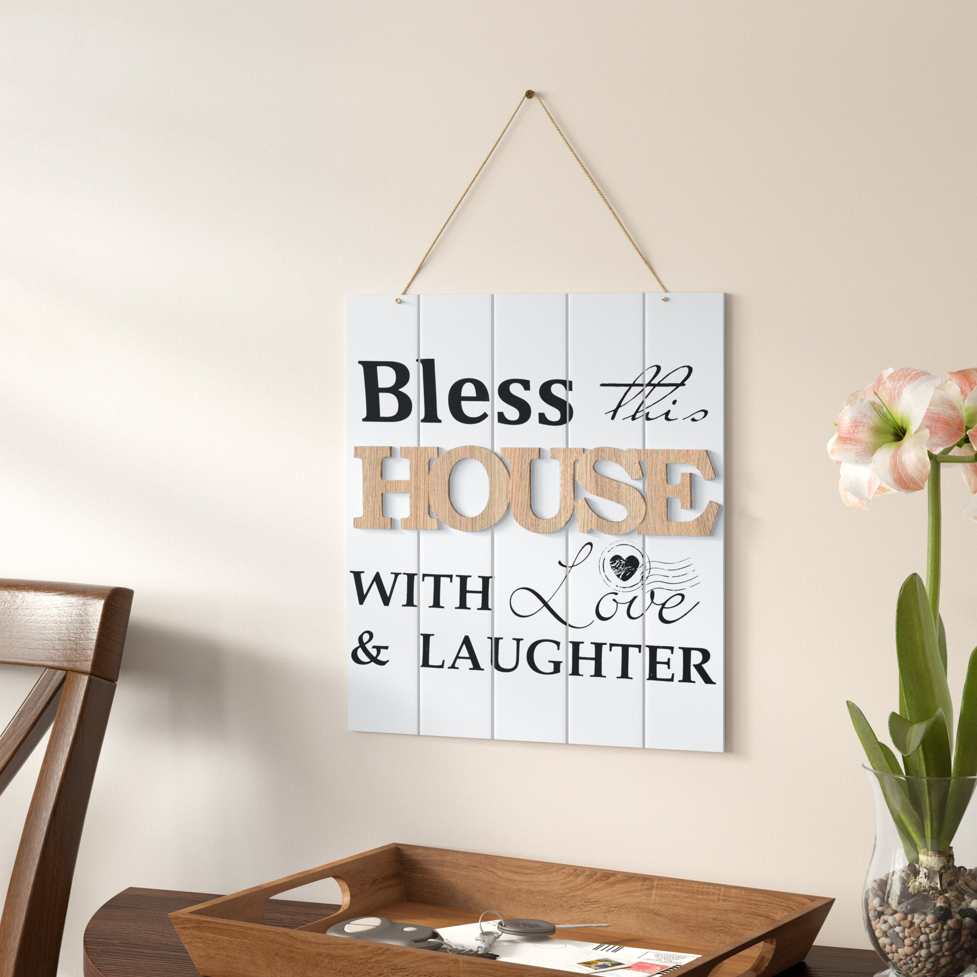 Winston Porter Bless This House With Love And Laughter Wall Decor Regarding Newest Faith, Hope, Love Raised Sign Wall Decor By Winston Porter (Gallery 8 of 20)
