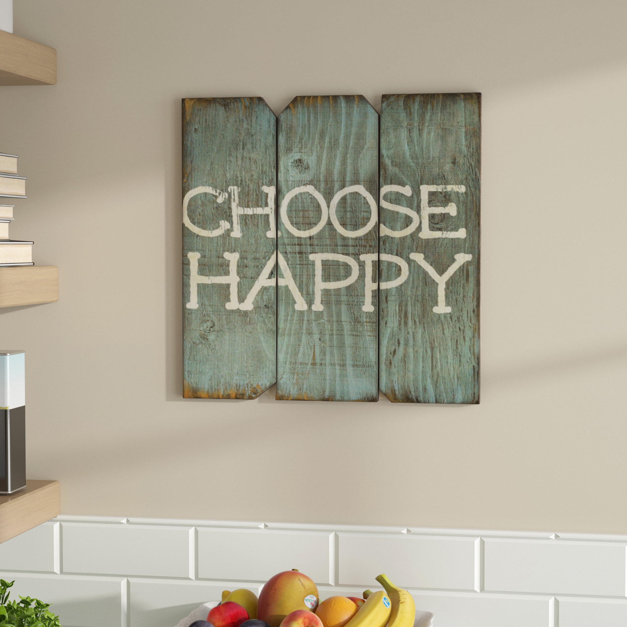 Winston Porter Choose Happy Wood Wall Décor & Reviews (View 2 of 20)
