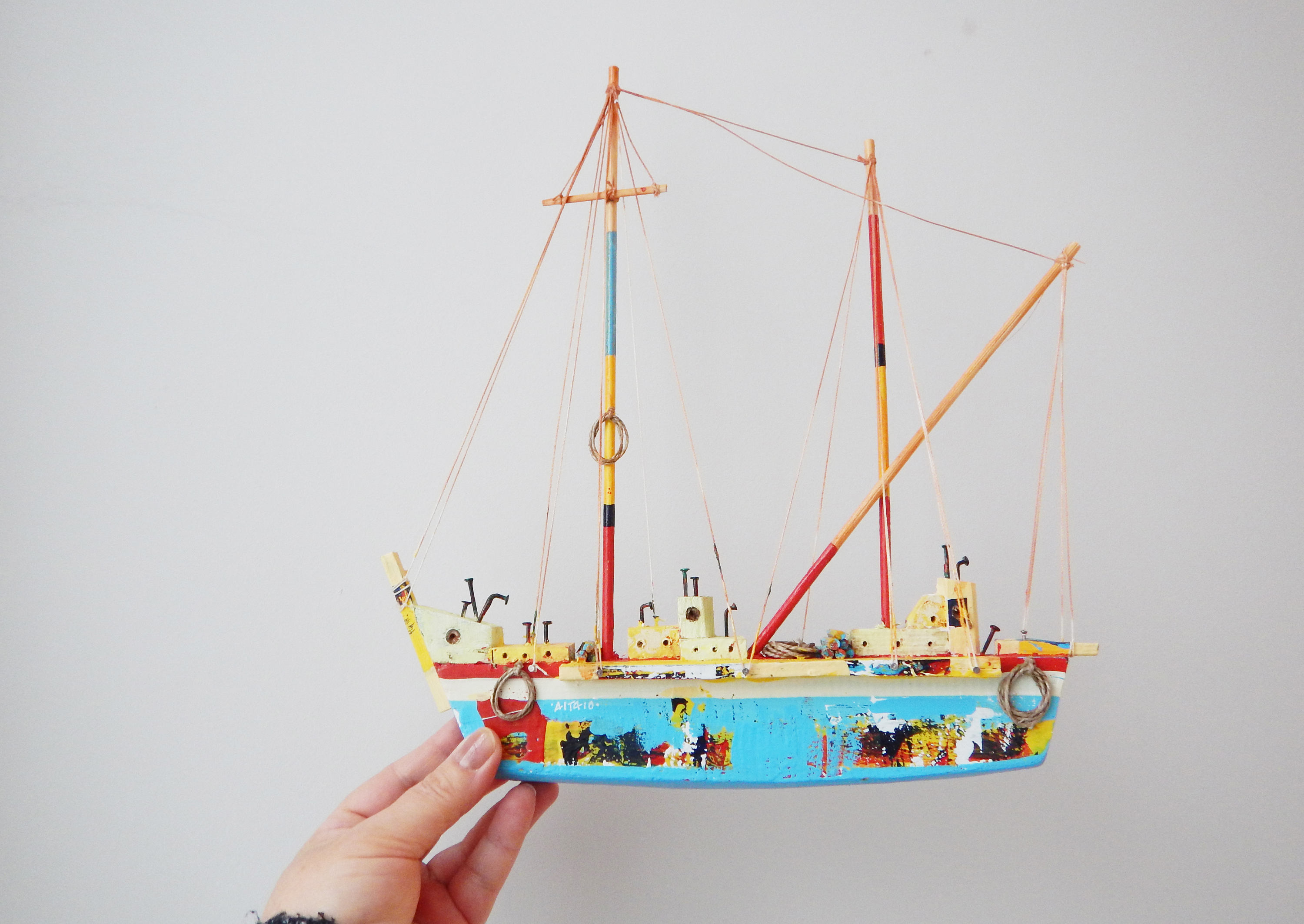 Wooden Greek Sailboat Colourful Sailboat Of Wood Metal (Gallery 7 of 20)