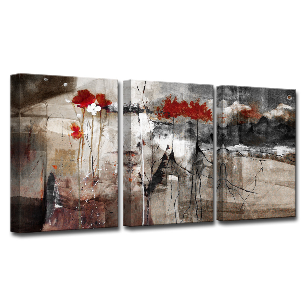 Wrought Studio 'abstract' 3 Piece Print Of Painting On Canvas Set In Trendy 3 Piece Wall Decor Sets By Wrought Studio (Gallery 5 of 20)