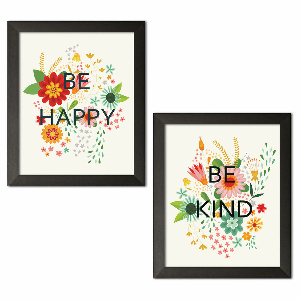 Wrought Studio 'be Happy I And Be Kind Ii' 2 Piece Textual Art Set Throughout Well Liked 3 Piece Wall Decor Sets By Wrought Studio (View 18 of 20)
