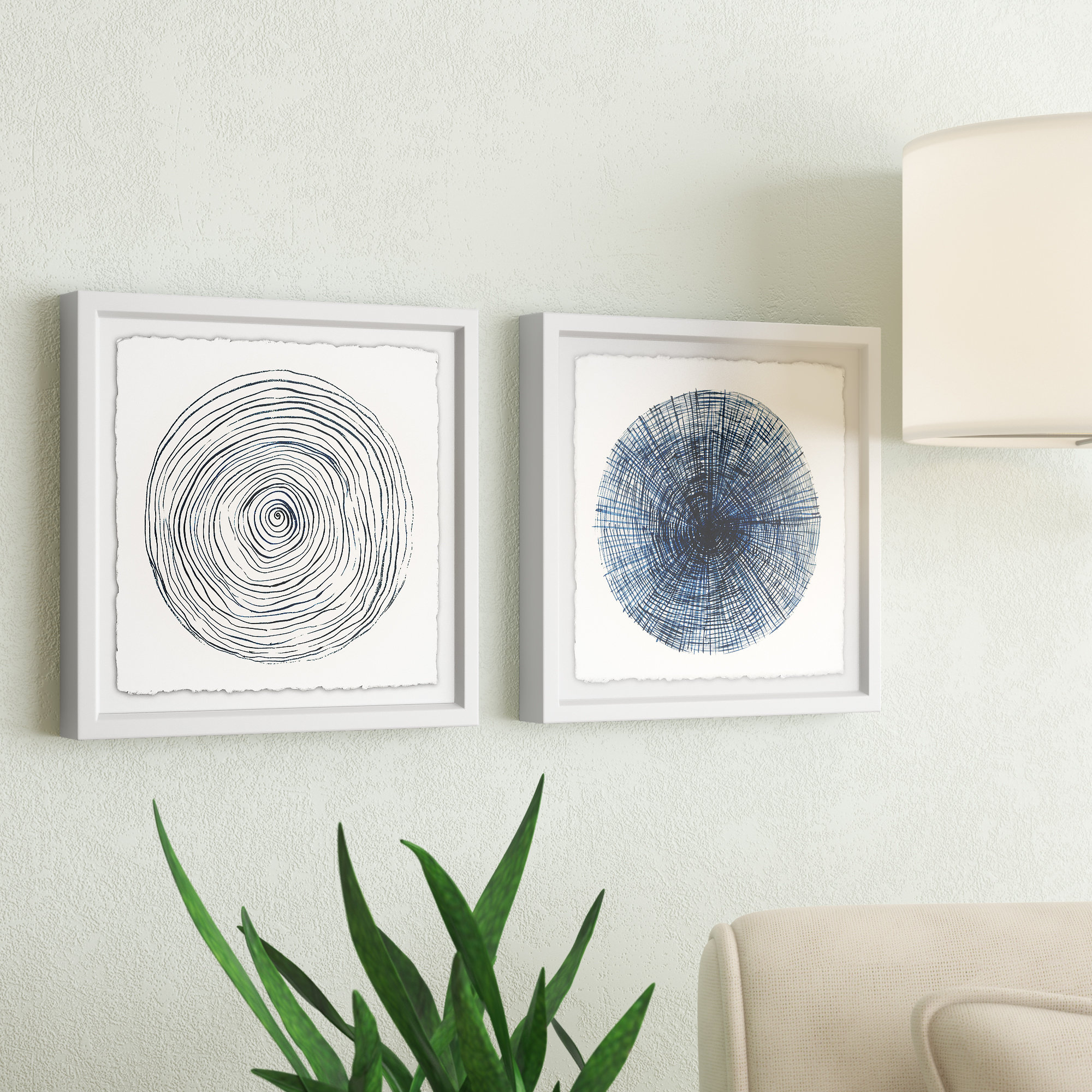 Wrought Studio 'circle Lines Diptych' 2 Piece Framed Drawing Print With Regard To Newest 3 Piece Wall Decor Sets By Wrought Studio (View 11 of 20)