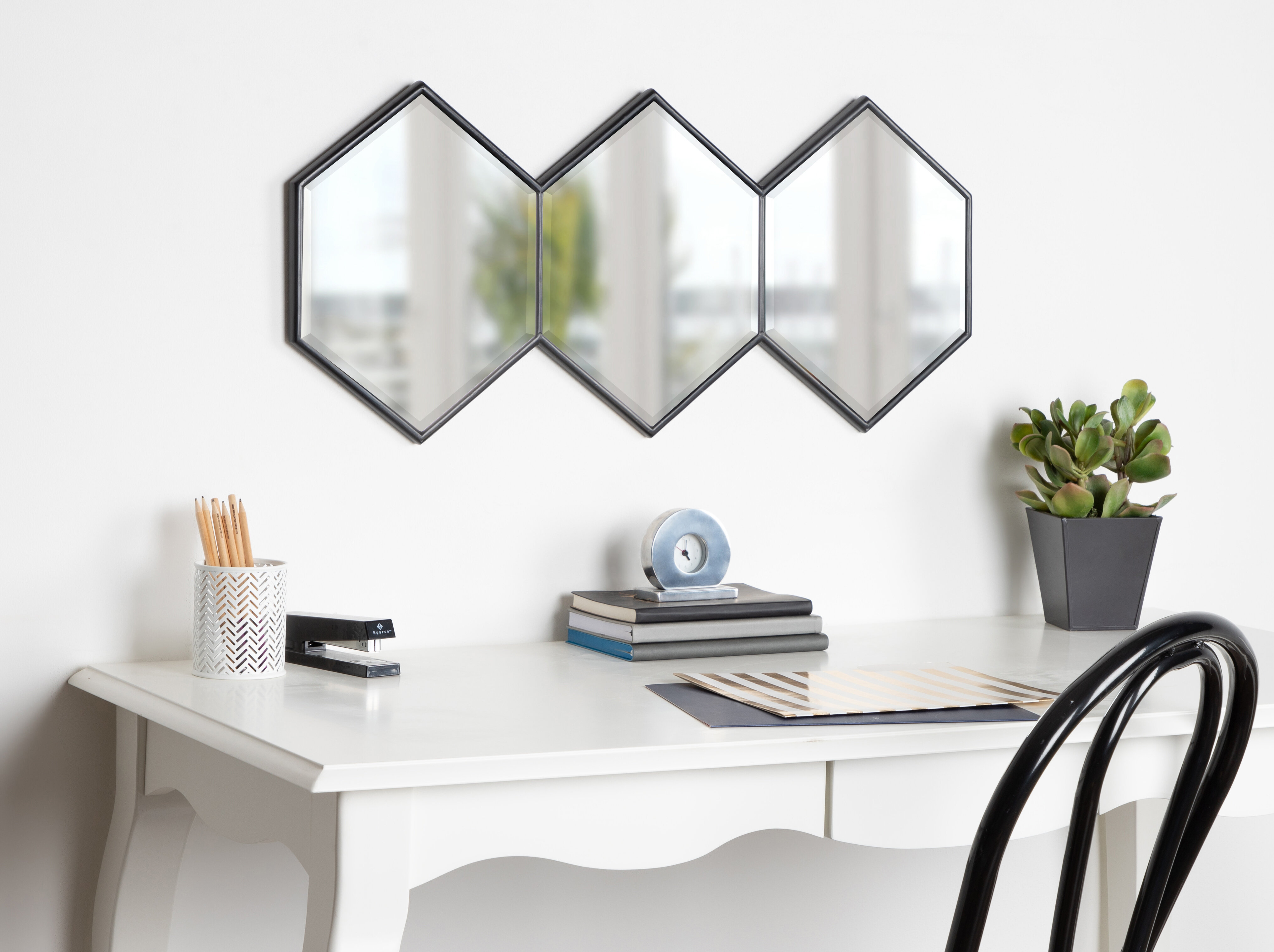 Wrought Studio Ganya Hexagon Trio Wall Mirror (View 19 of 20)