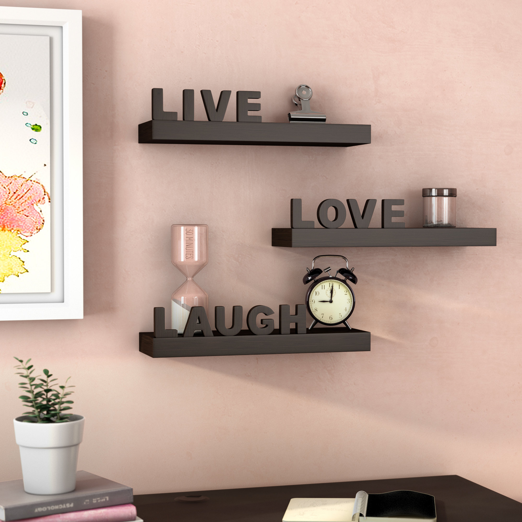 Wrought Studio Howton 3 Piece Live Love Laugh Floating Wall Shelf For Fashionable Live Love Laugh 3 Piece Black Wall Decor Sets (Gallery 9 of 20)