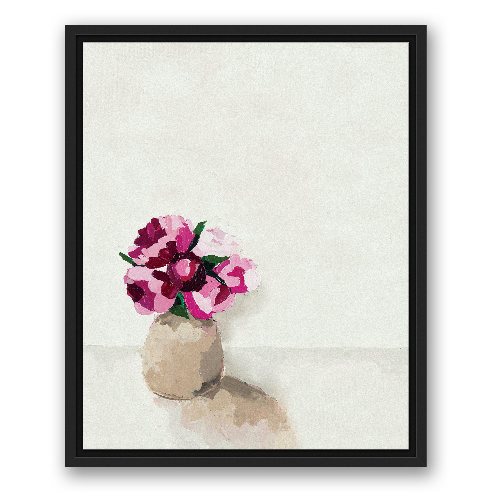 Wrought Studio 'pink Flowers In A Vase' Framed Print On Canvas Throughout Latest 3 Piece Wall Decor Sets By Wrought Studio (View 20 of 20)