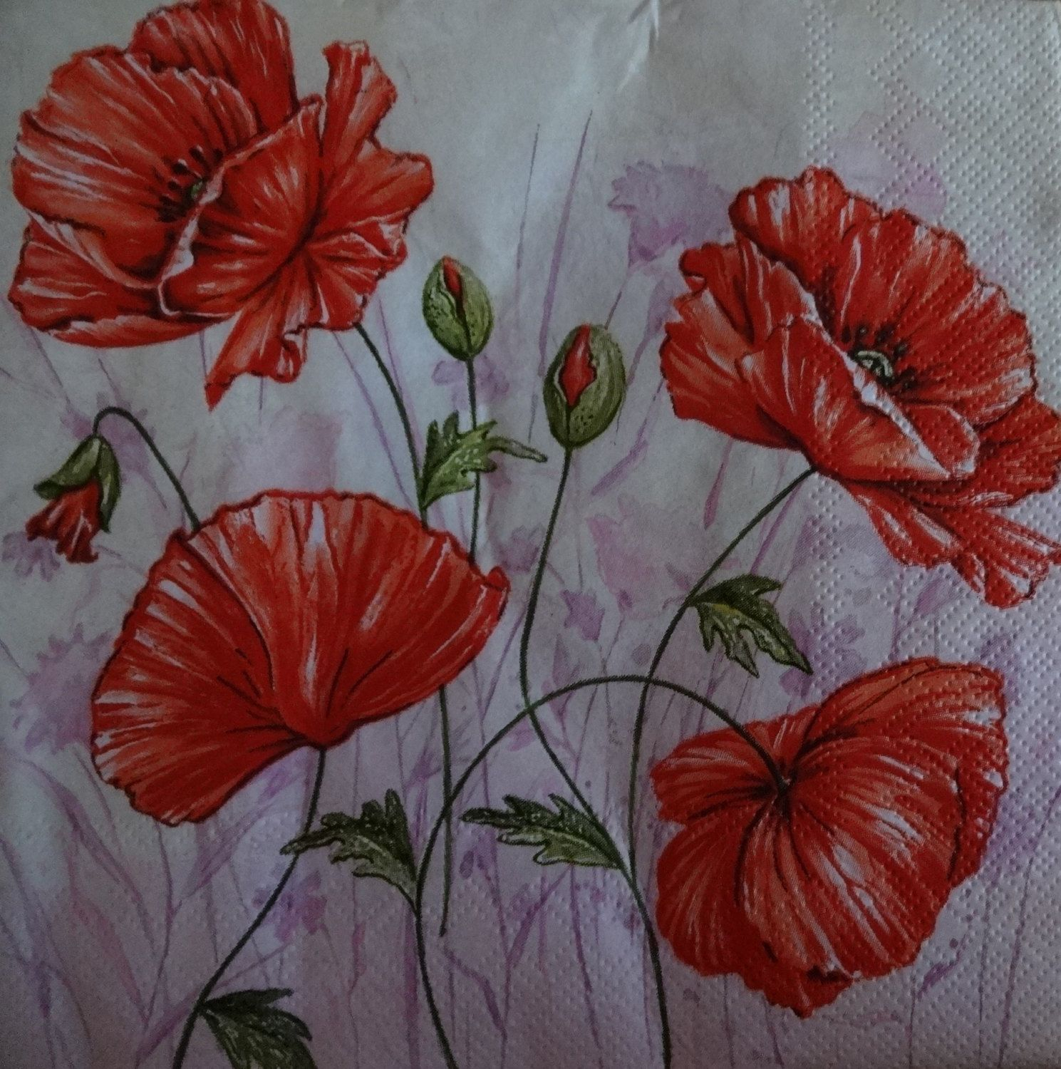 4 Poppy Decoupage Napkins Printed Paper Napkins Mixed Media Intended For Newest Blended Fabric Poppy Red Wall Hangings (View 11 of 20)