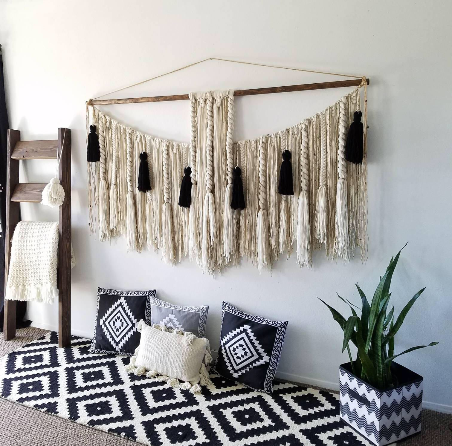 72 Extra Large Macrame Wall Hanging/modern | Etsy | Yarn With Most Current Blended Fabric Salty But Sweet Wall Hangings (View 4 of 20)