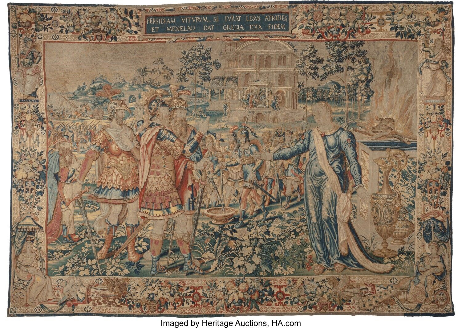 A Brussels Historical Tapestry From A Series Of The Trojan Within Most Recently Released Blended Fabric The Pomona Wall Hangings (View 10 of 20)