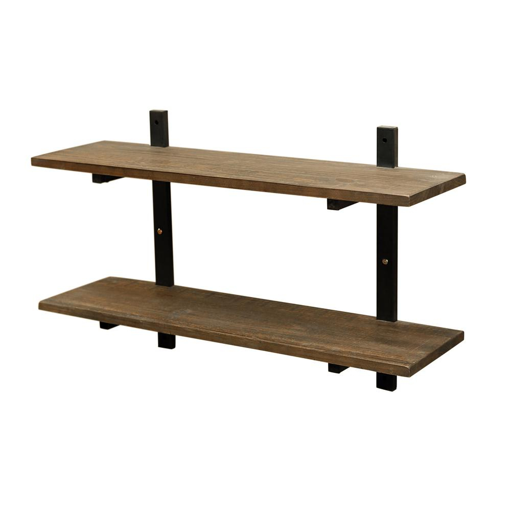 "Alaterre Furniture Pomona 10"" D X 36"" W X 22"" H Natural Metal And Solid Wood Wall Shelf Amba5720 – The Home Depot With Regard To Most Recent Blended Fabric The Pomona Wall Hangings (View 18 of 20)"