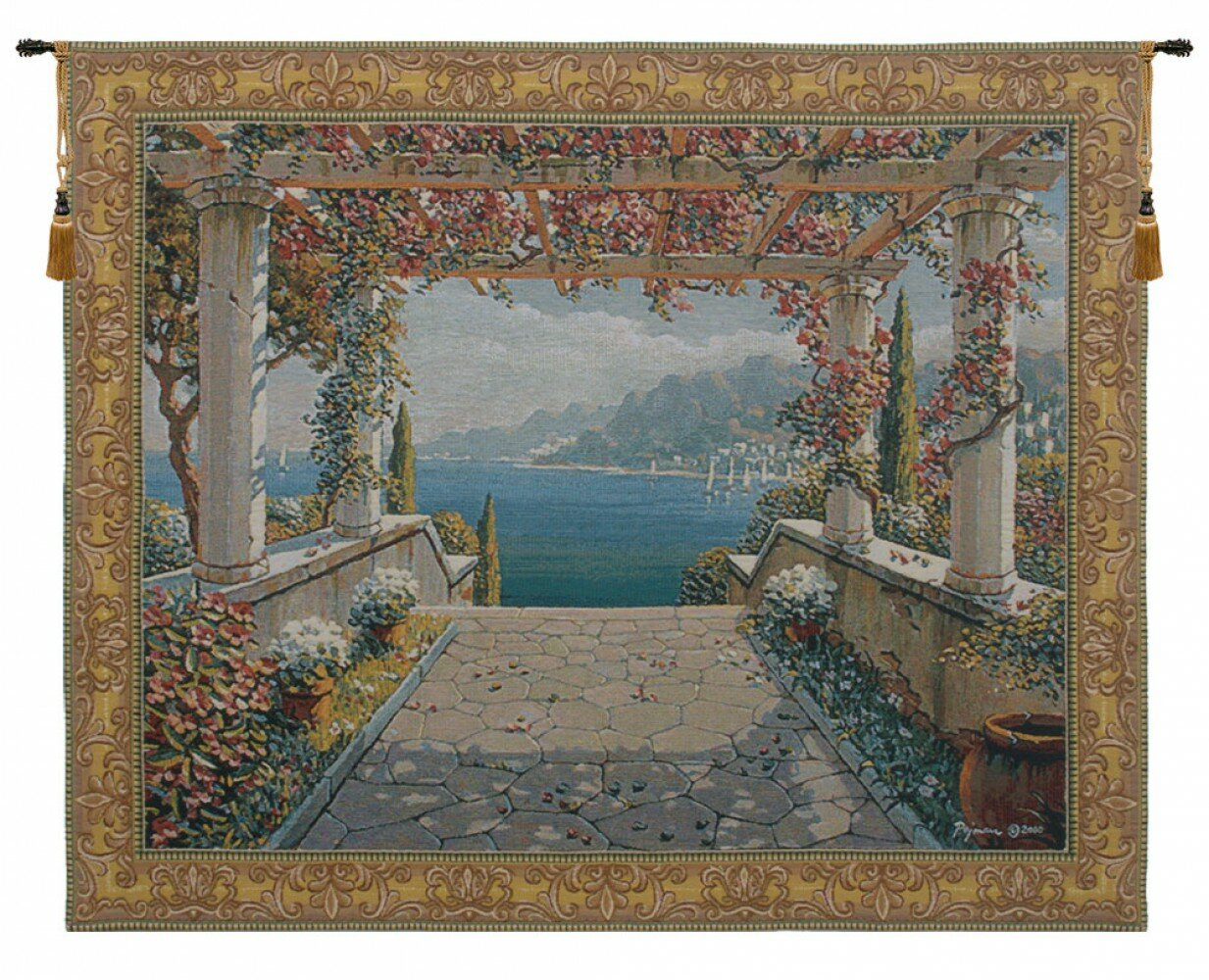 Amalfi Arbor Tapestry With Regard To 2017 Blended Fabric Bellagio Scalinata Wall Hangings (View 3 of 20)