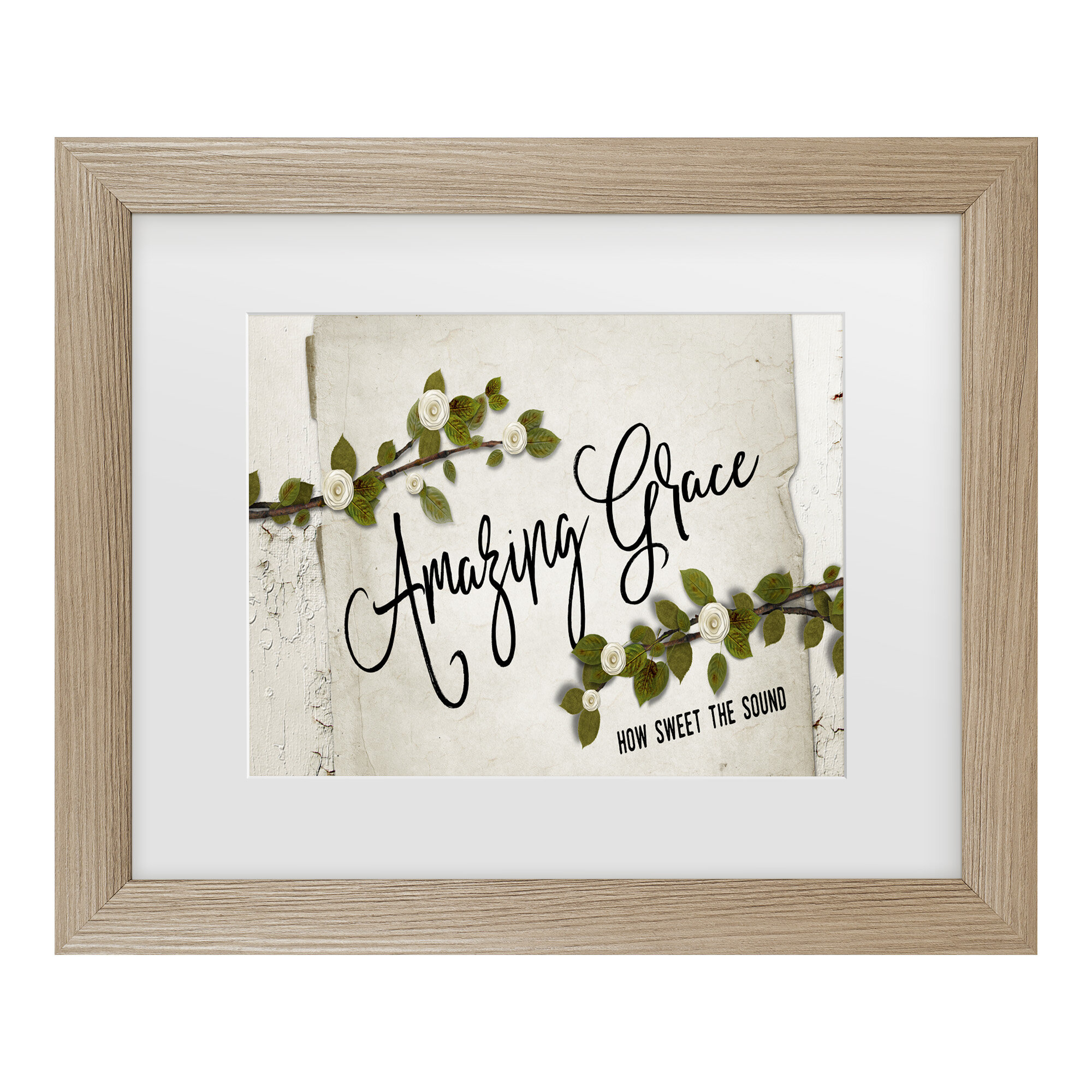 'amazing Grace Floral' Typography Metal In White For Most Up To Date Blended Fabric Amazing Grace Wall Hangings (View 6 of 20)