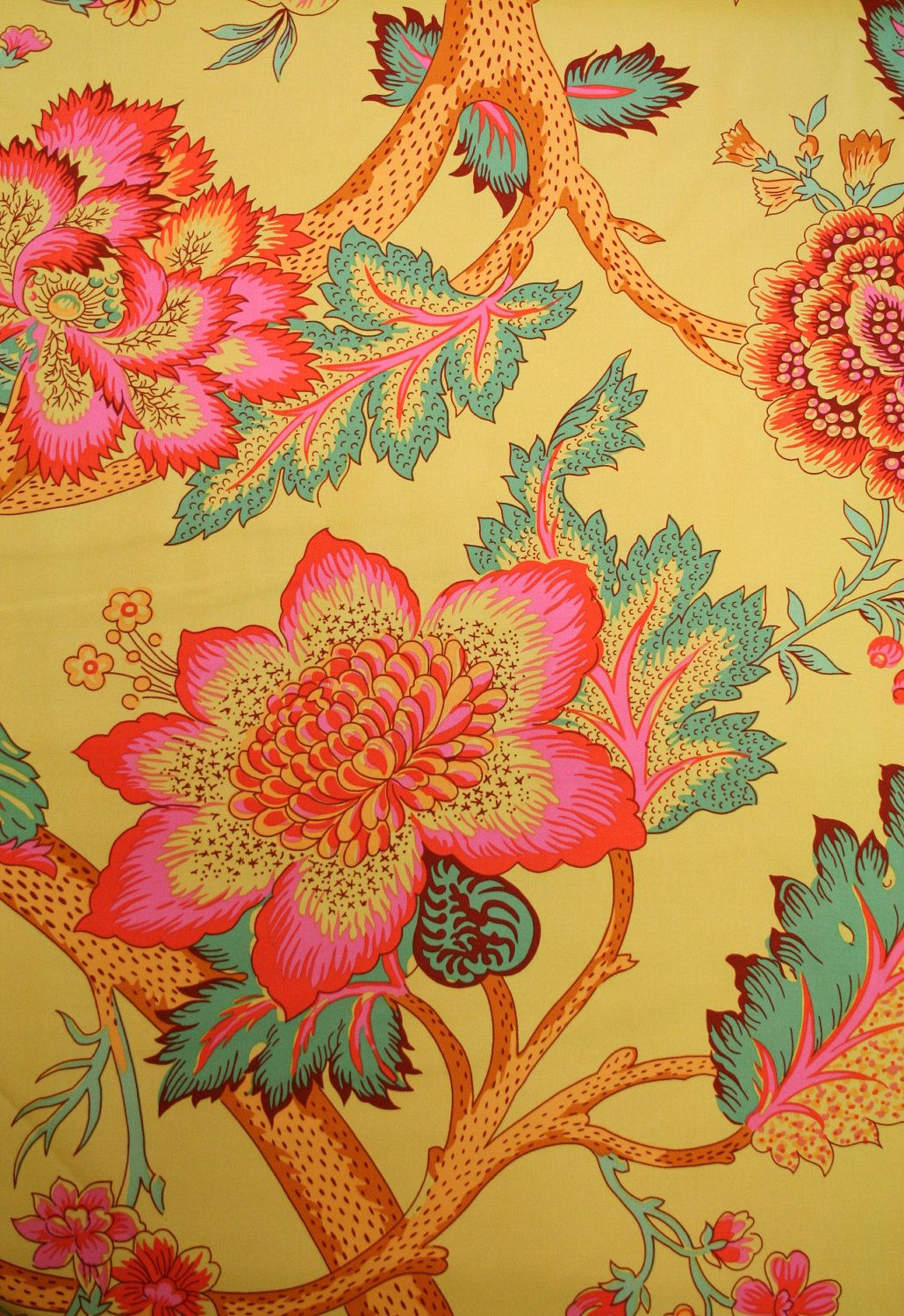 Amy Butler Soul Blossoms Cilantro Night Tree Fabric – 1 Yard Pertaining To Best And Newest Blended Fabric Peacock European Tapestries (View 14 of 20)
