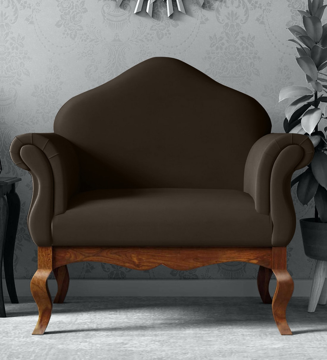 Anne 1 Seater Sofa In Provincial Teak Finish Intended For 2018 Blended Fabric Living Life Bell Pull Wall Hangings (View 14 of 20)
