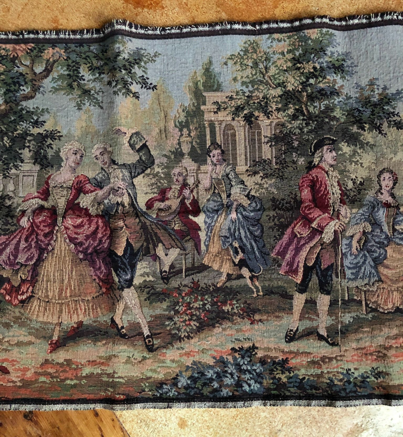 Antique Belgium Tapestry French Colonial Scene Romantic Pertaining To Current Blended Fabric Classic French Rococo Woven Tapestries (View 5 of 20)