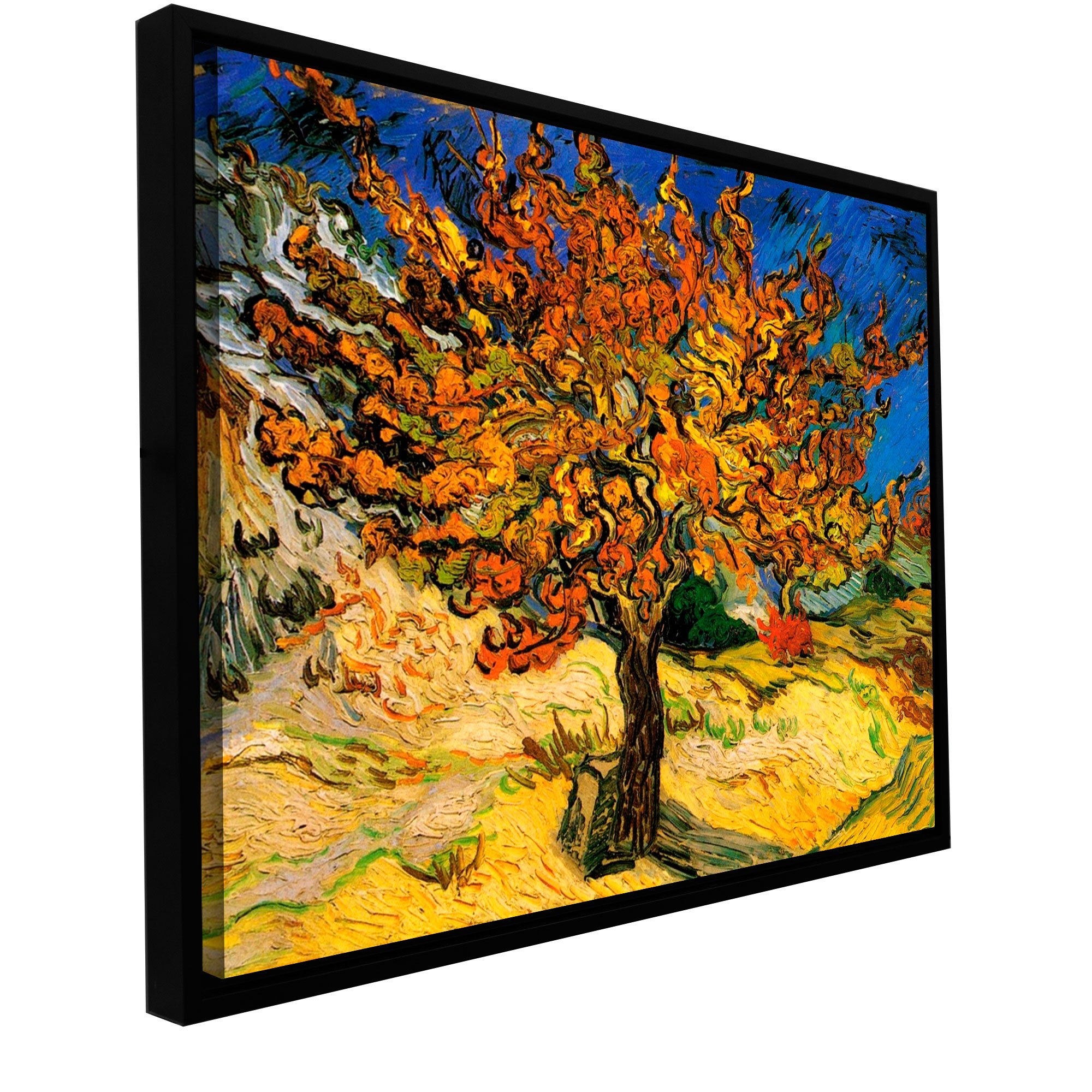 """Artwall """"mulberry Tree Floater Framed Gallery Wrapped Canvas Pertaining To 2017 Blended Fabric The Mulberry Tree – Van Gogh Wall Hangings (View 10 of 20)"""