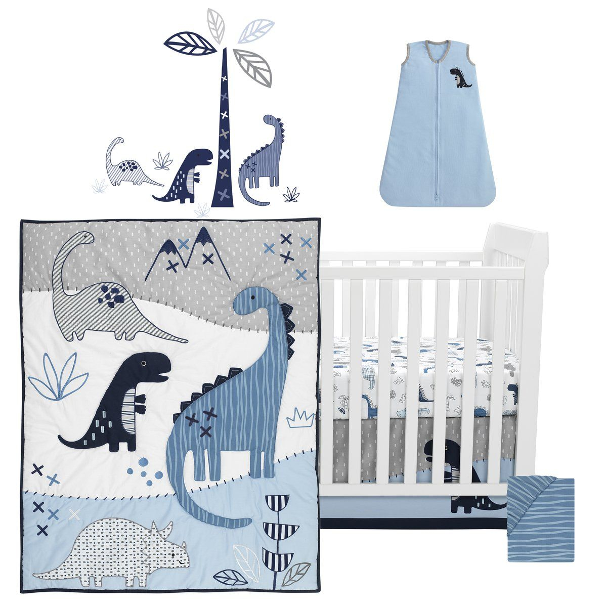 Baby Dino 6 Piece Crib Bedding Set | Dinosaur Nursery, Baby Within Most Popular Blended Fabric Mod Dinosaur 3 Piece Wall Hangings Set (View 11 of 20)