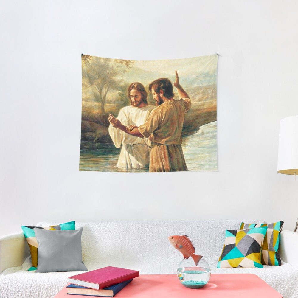 Baptism Of Christ | Tapestry Intended For Most Recently Released Blended Fabric Garden Of Gethsemane Tapestries And Wall Hangings (View 15 of 20)