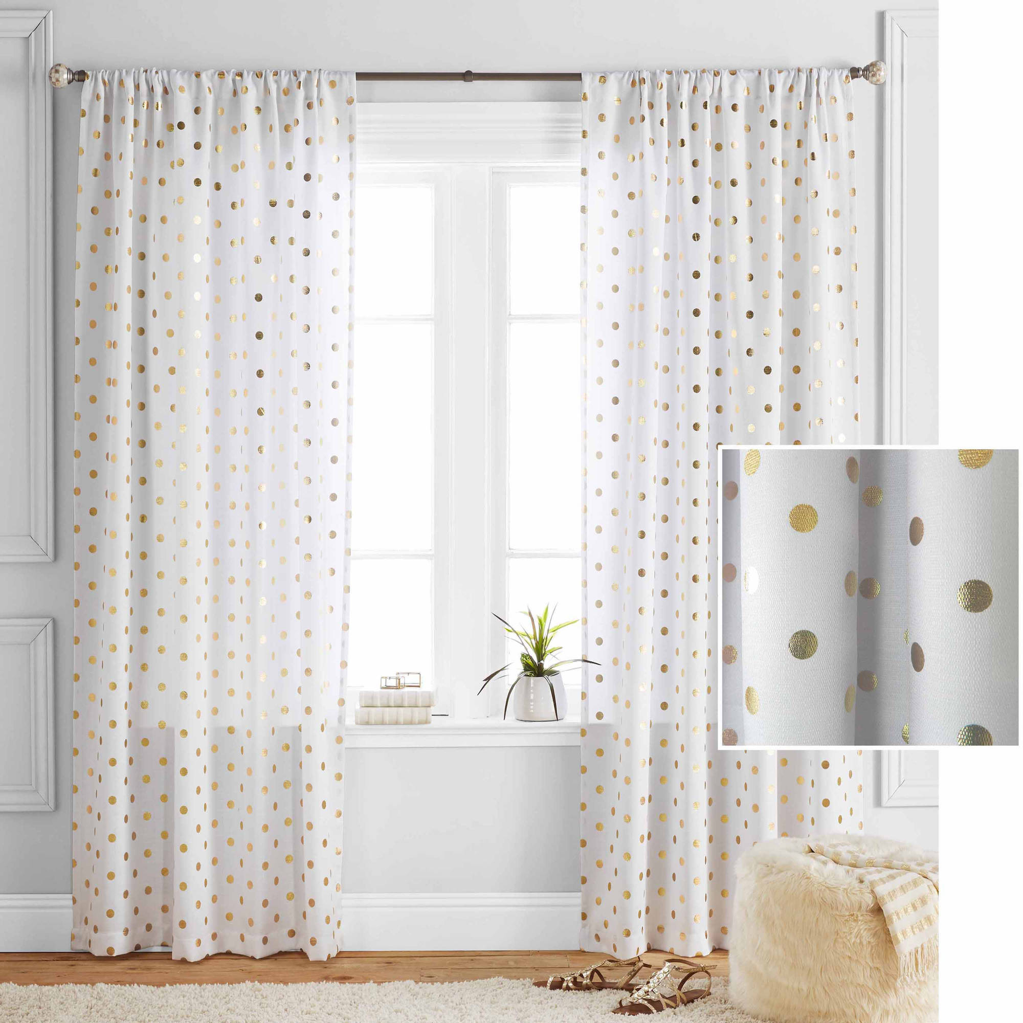Better Homes And Gardens Metallic Polka Dots Single Window Panel Throughout Recent Blended Fabric The Road Rises Wall Panel With Topper Tapestries And Wall Hangings (View 16 of 20)