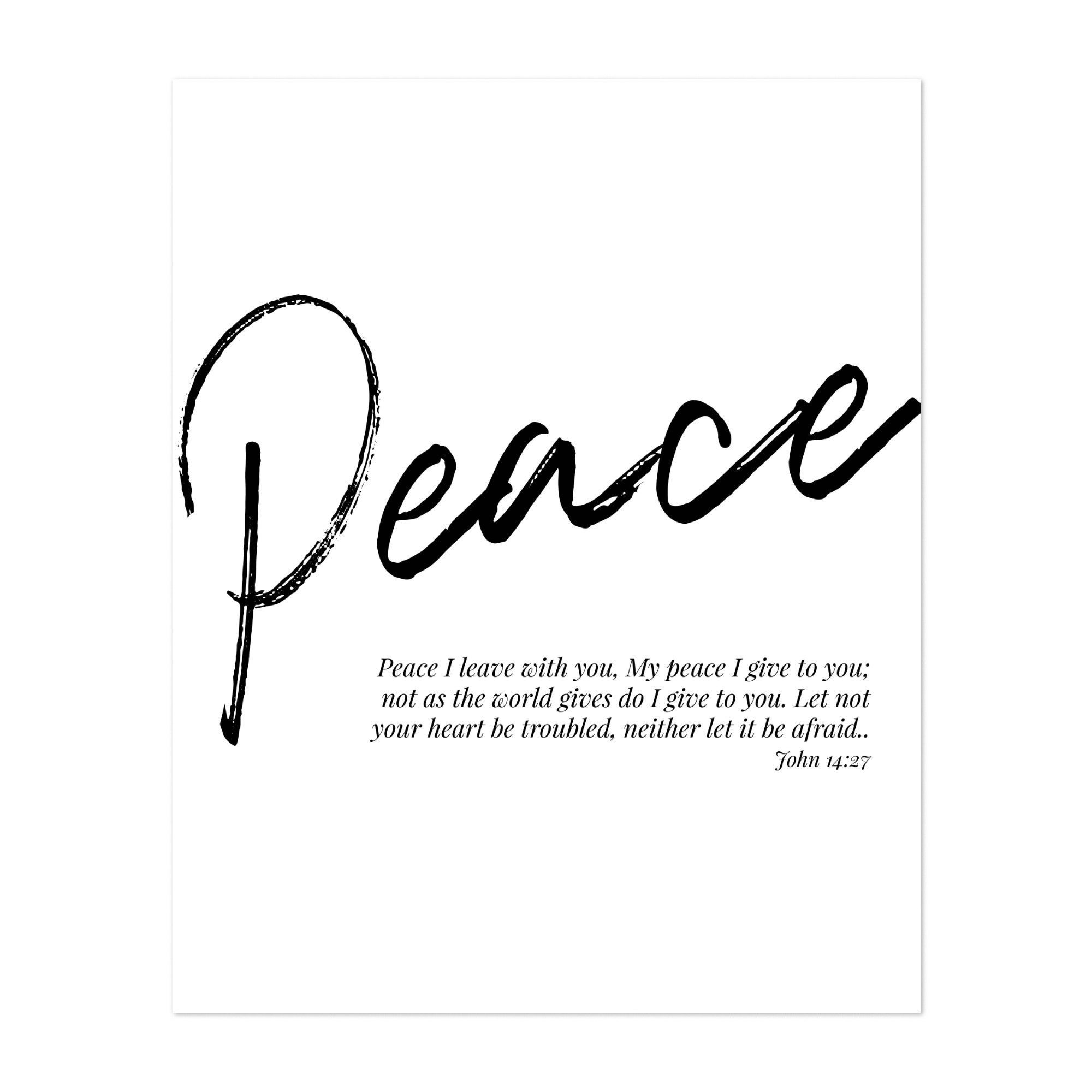 Bible Bible Verse Religion Typography Unframed Wall Art Print/poster In Best And Newest Peace I Leave With You Wall Hangings (View 11 of 20)