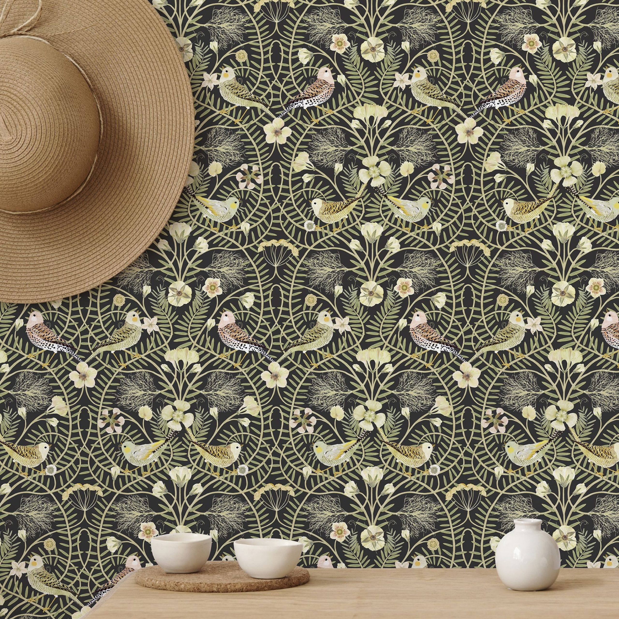 Birds Nest – Black – High Quality Personalised Wallpaper Intended For Most Recent Blended Fabric Ethereal Days Chinoiserie Wall Hangings With Rod (View 18 of 20)