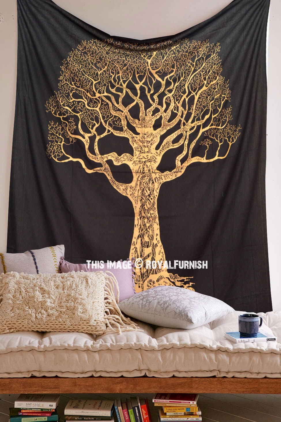 Black & Gold Bohemian Desert Tree Of Life Wall Tapestry With Latest Blended Fabric Living Life Tapestries (View 15 of 20)