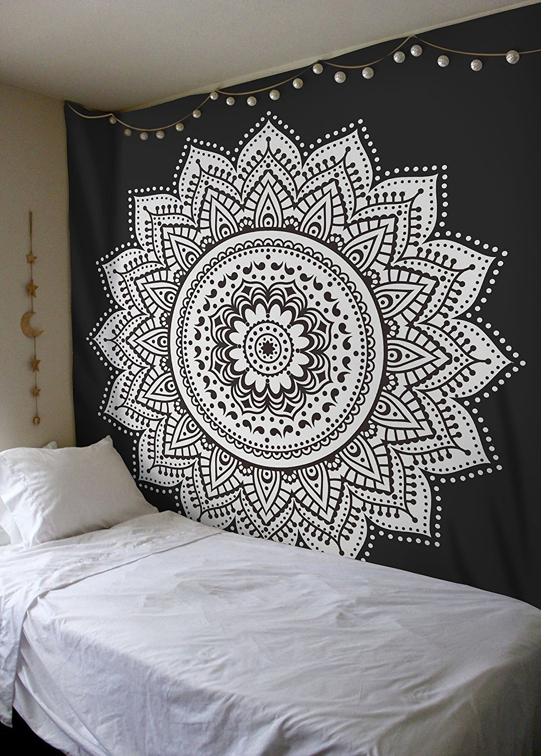 Black & White Rangoli Mandala Wall Tapestry With Regard To Latest Blended Fabric In His Tapestries And Wall Hangings (View 17 of 20)