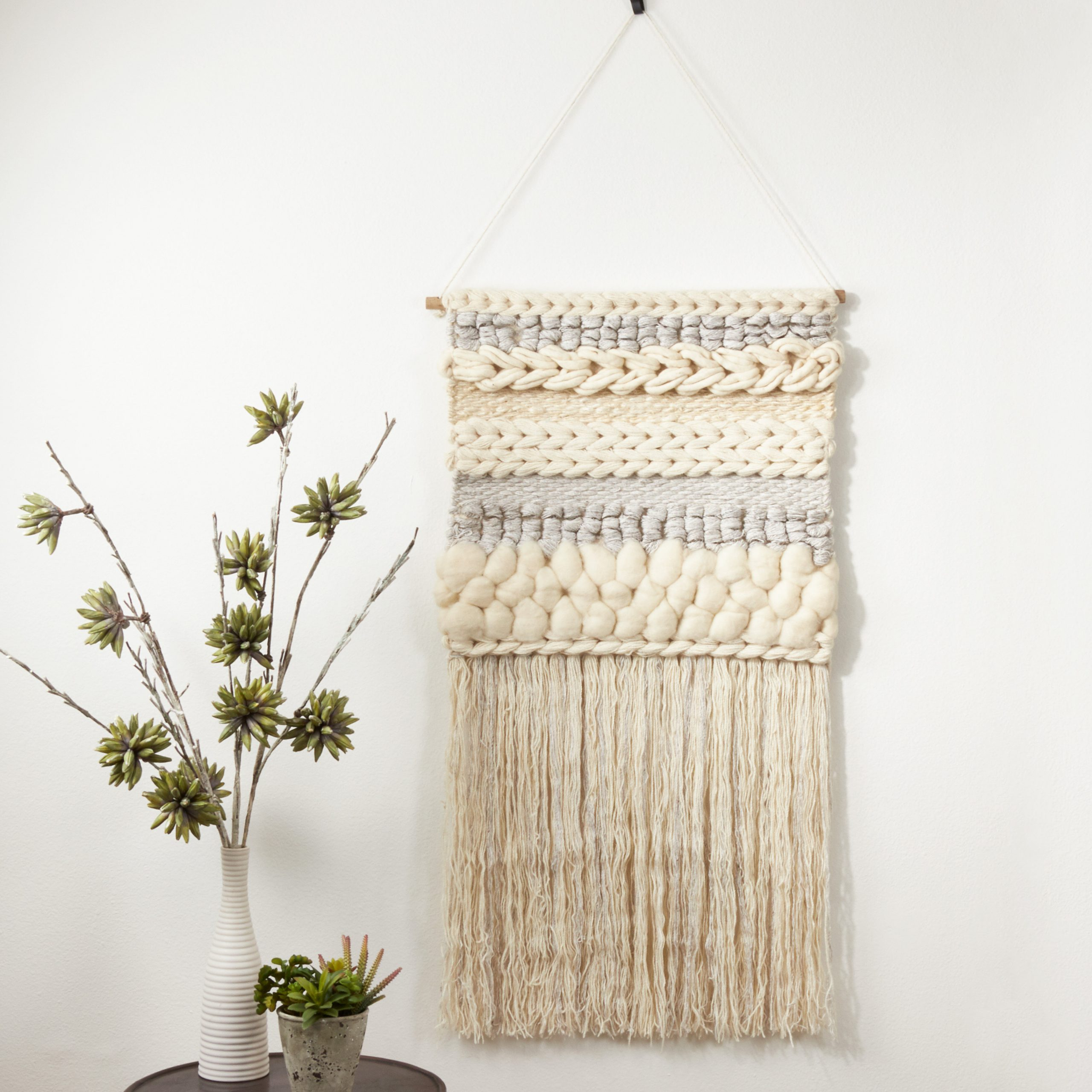 Blended Fabric Fringed Braided Design With Rod Included Inside Most Current Blended Fabric Wall Hangings With Rod Included (View 10 of 20)