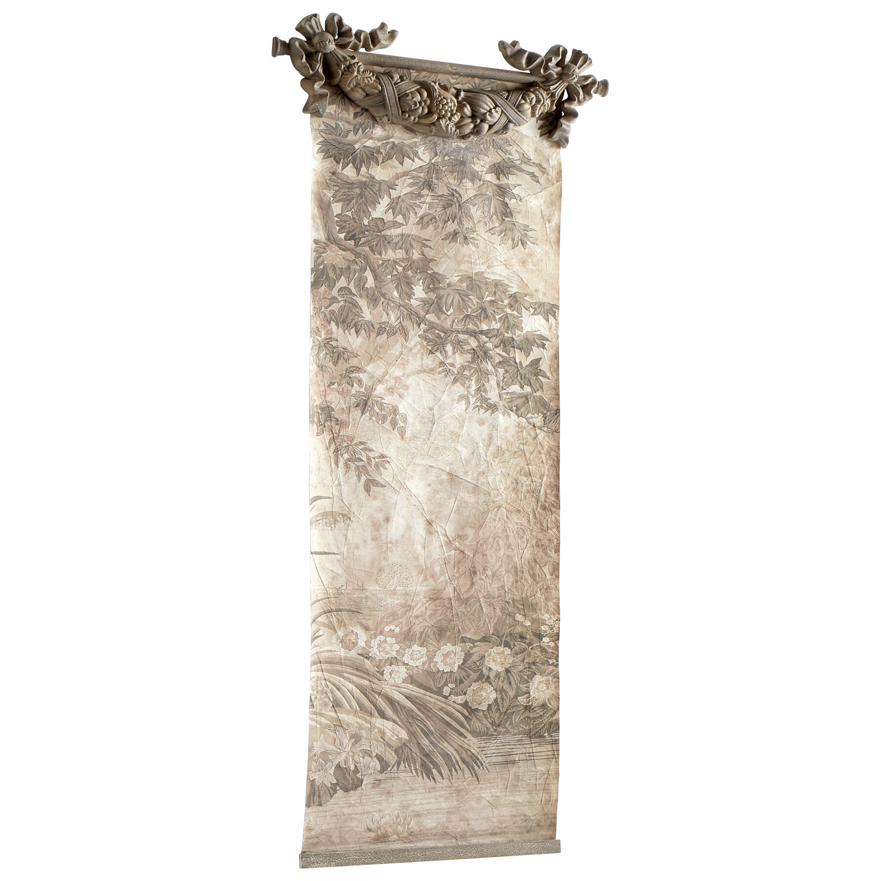 Blended Fabric Hidden Garden Chinoiserie Wall Hanging With Rod Within Best And Newest Blended Fabric Havenwood Chinoiserie Tapestries Rod Included (View 3 of 20)