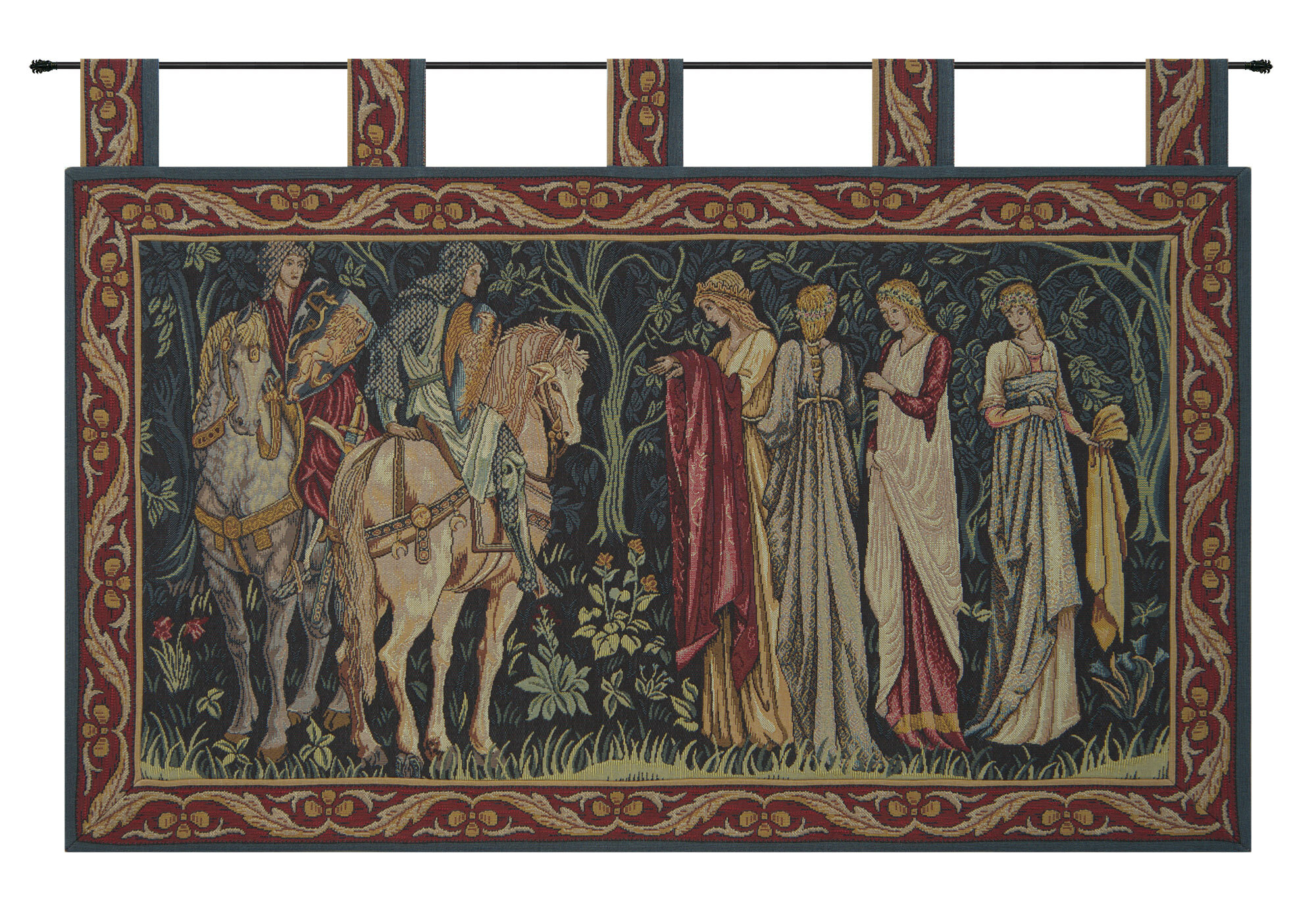 Blended Fabric Knight And Ladies Of Camelot With Loops Tapestry Regarding Most Current Blended Fabric Vendanges (red) Wall Hangings (View 3 of 20)