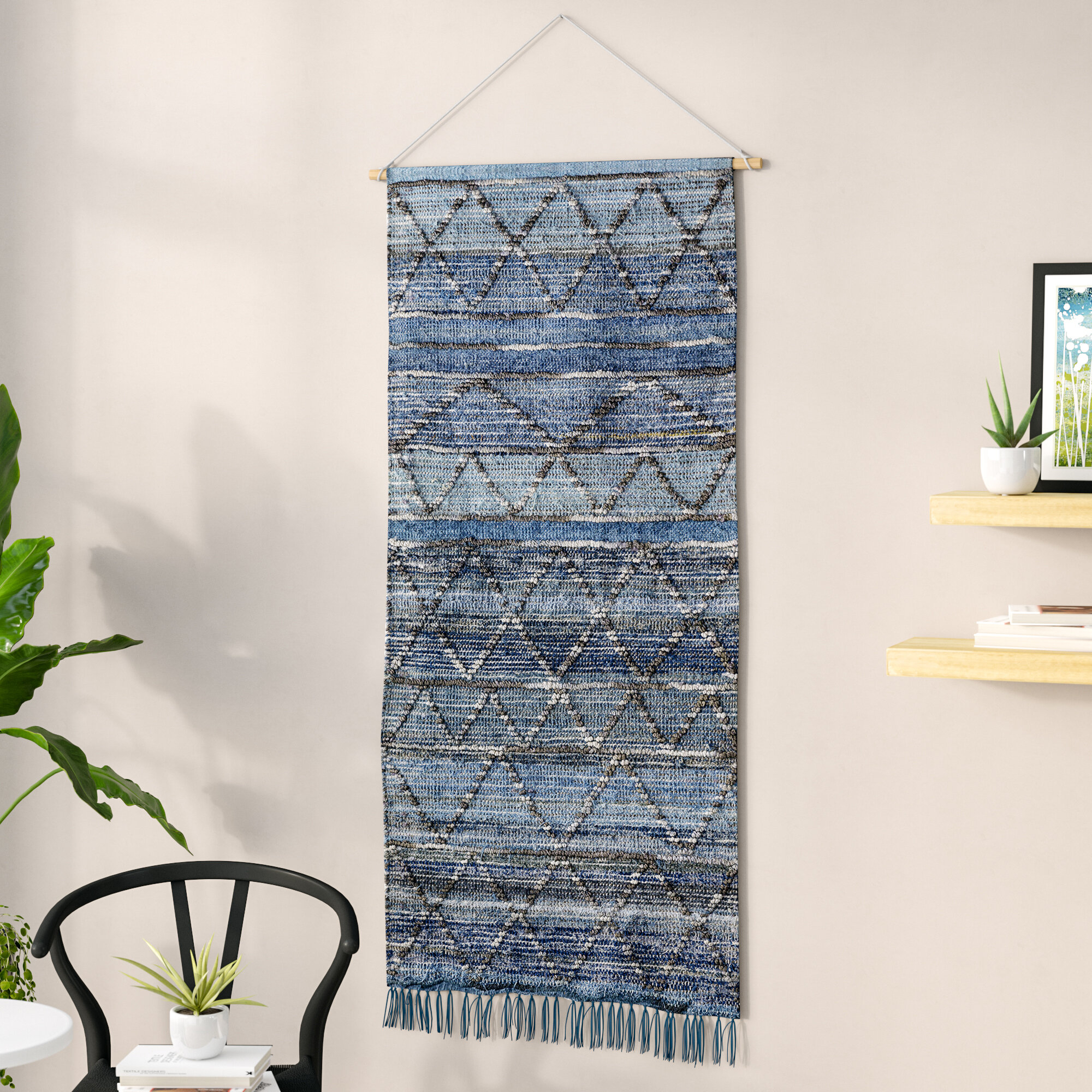 Blended Fabric Wall Hanging With Hanging Accessories Included Inside Most Popular Blended Fabric Fringed Design Woven With Rod (View 4 of 20)
