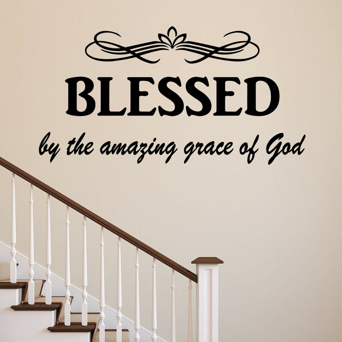 Blessedthe Amazing Grace Of God Christian Quotes Wall Decal For Most Popular Blended Fabric Amazing Grace Wall Hangings (View 3 of 20)