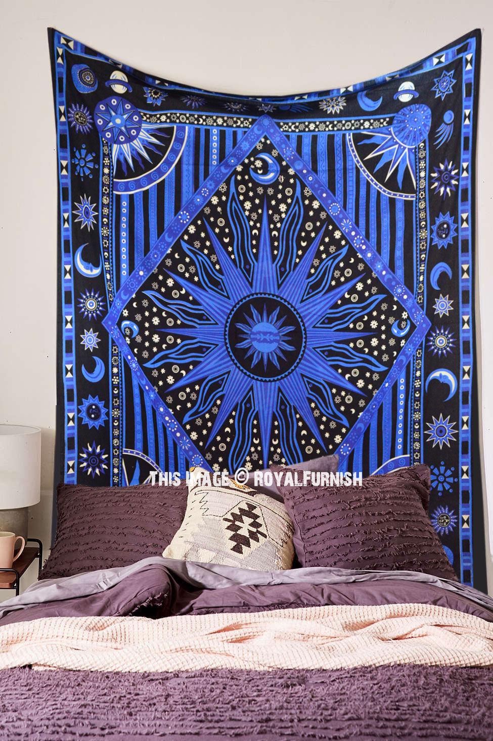 Blue Celestial Sun Moon Stars Planet Tapestry, Indian Hippie Wall Hanging In Most Recent Blended Fabric Celestial Wall Hangings (set Of 3) (View 9 of 20)