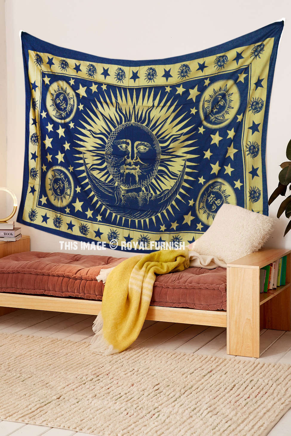 Blue & Gold Celestial Sun Moon Tapestry Wall Hanging Inside Most Up To Date Blended Fabric Celestial Wall Hangings (set Of 3) (View 8 of 20)