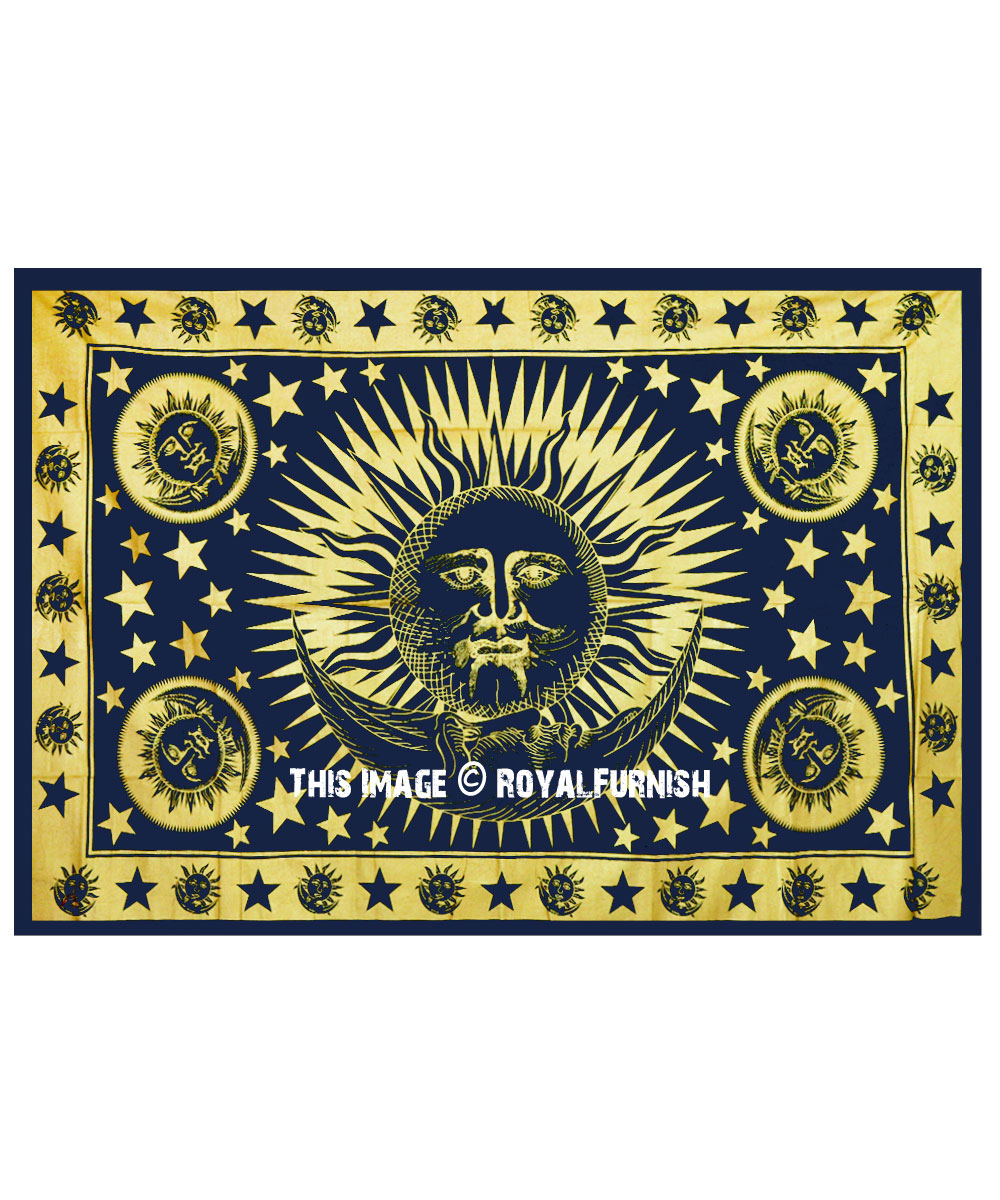 Blue & Gold Celestial Sun Moon Tapestry Wall Hanging Intended For 2017 Blended Fabric Celestial Wall Hangings (set Of 3) (View 11 of 20)