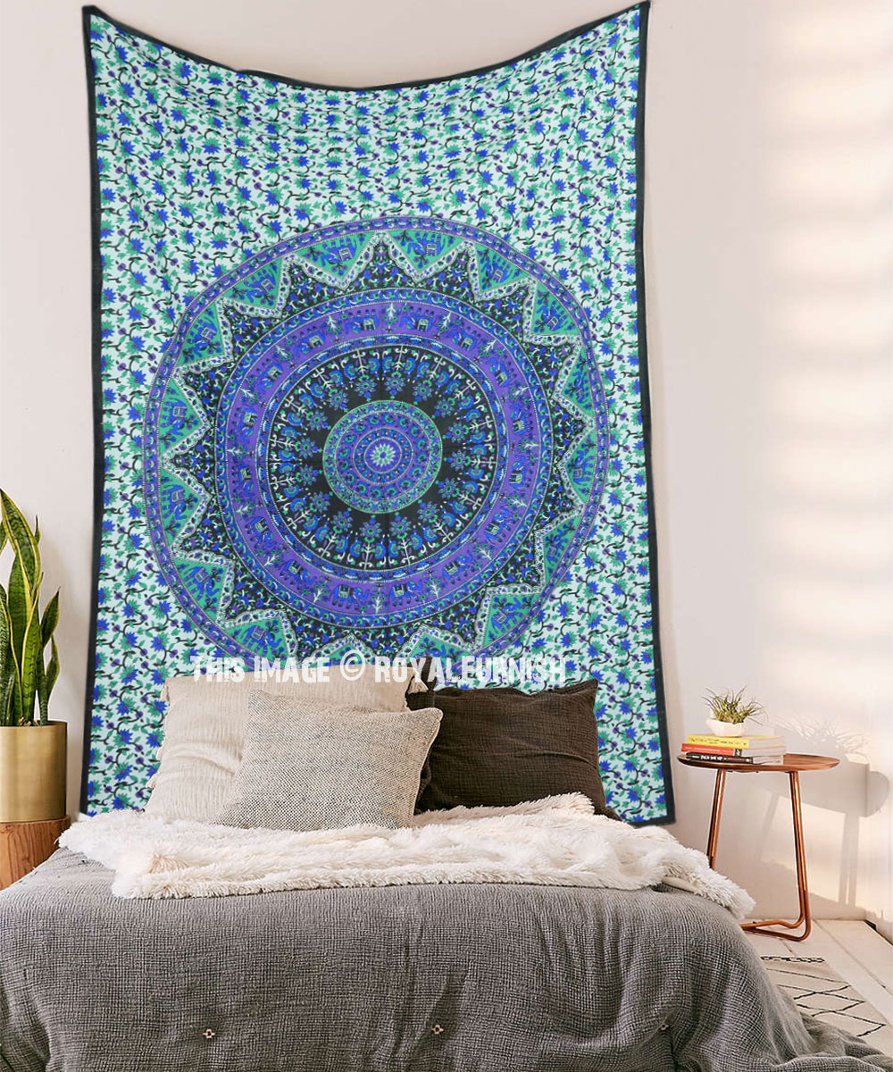 Blue Kerala Boho Mandala Tapestry Wall Hanging Inside Newest Blended Fabric Southwestern Bohemian Wall Hangings (View 18 of 20)