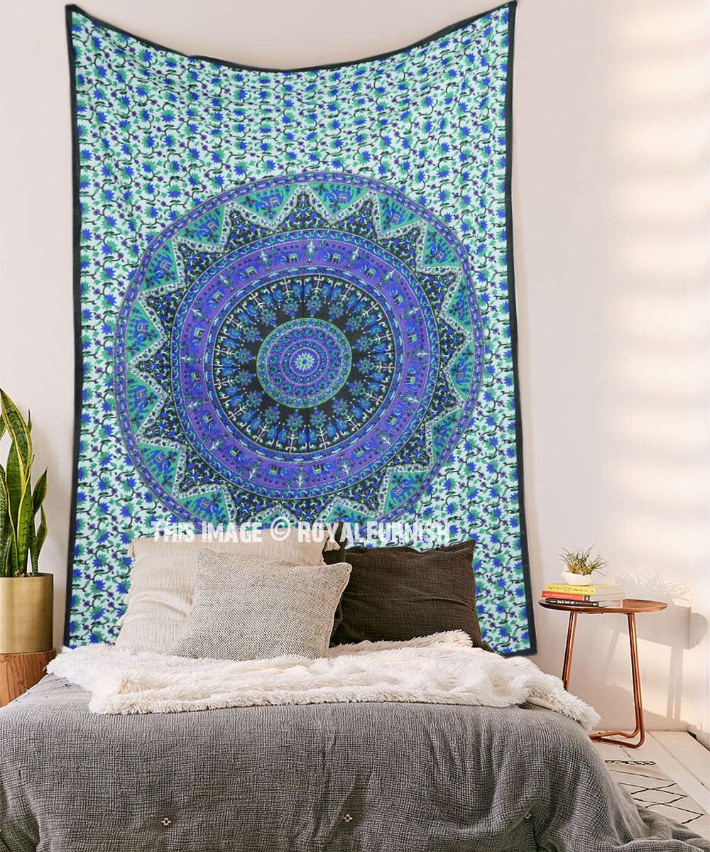 Blue Kerala Boho Mandala Tapestry Wall Hanging Inside Newest Blended Fabric Southwestern Bohemian Wall Hangings (View 18 of 20)