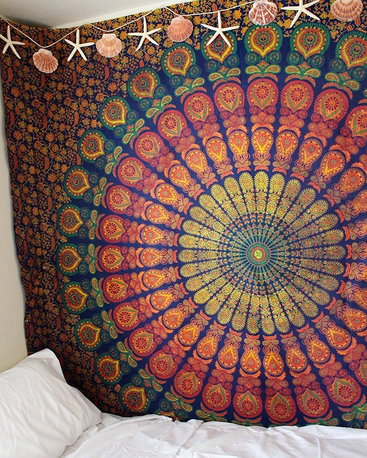 Blue & Yellow Hippie Medallion Mandala Boho Tapestry Wall Hanging Pertaining To Most Popular Blended Fabric In His Tapestries And Wall Hangings (View 16 of 20)