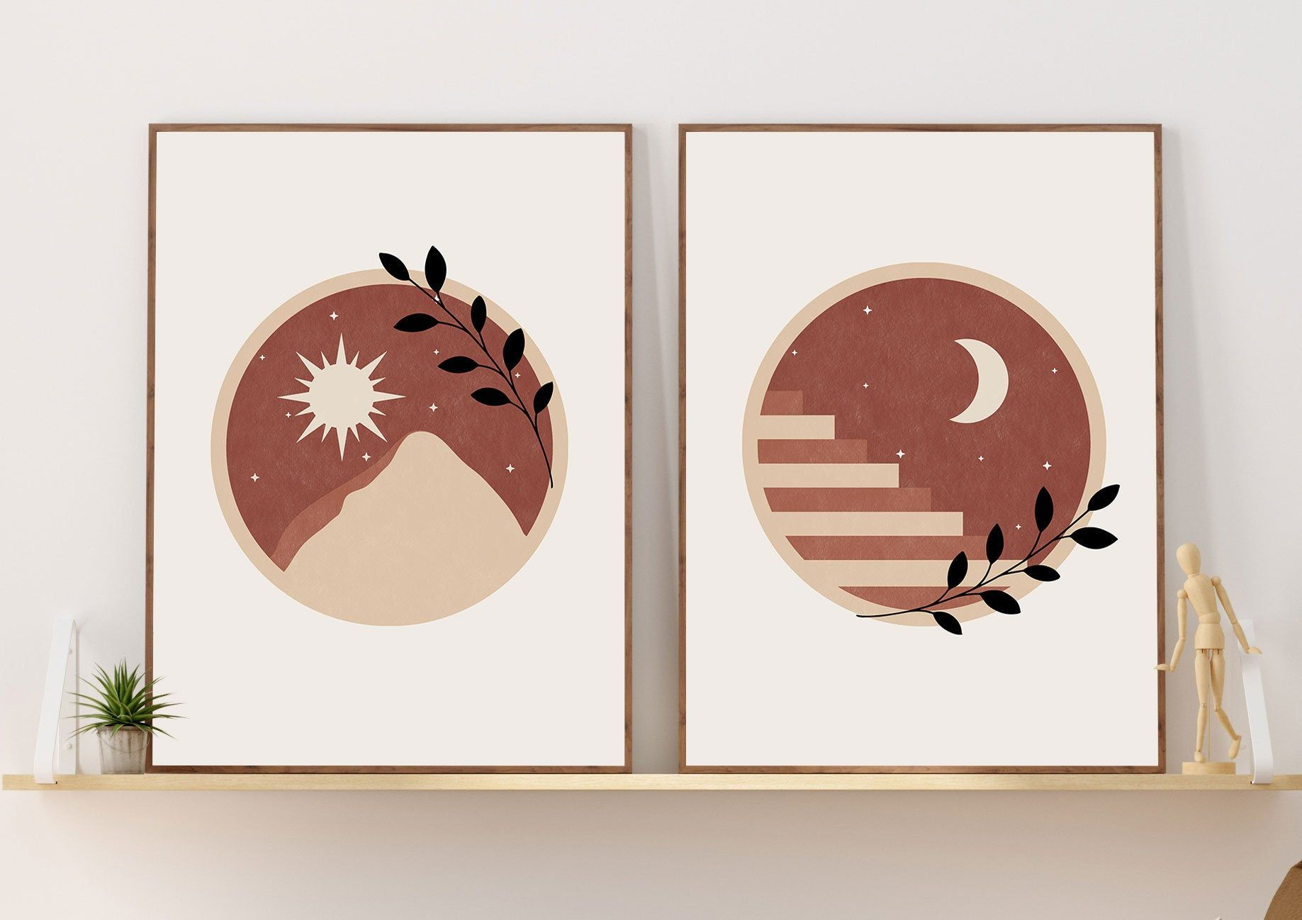 Boho Art Set Of 2 Prints Sun And Moon Print Set Terracotta Inside Most Popular Blended Fabric Celestial Wall Hangings (set Of 3) (View 10 of 20)