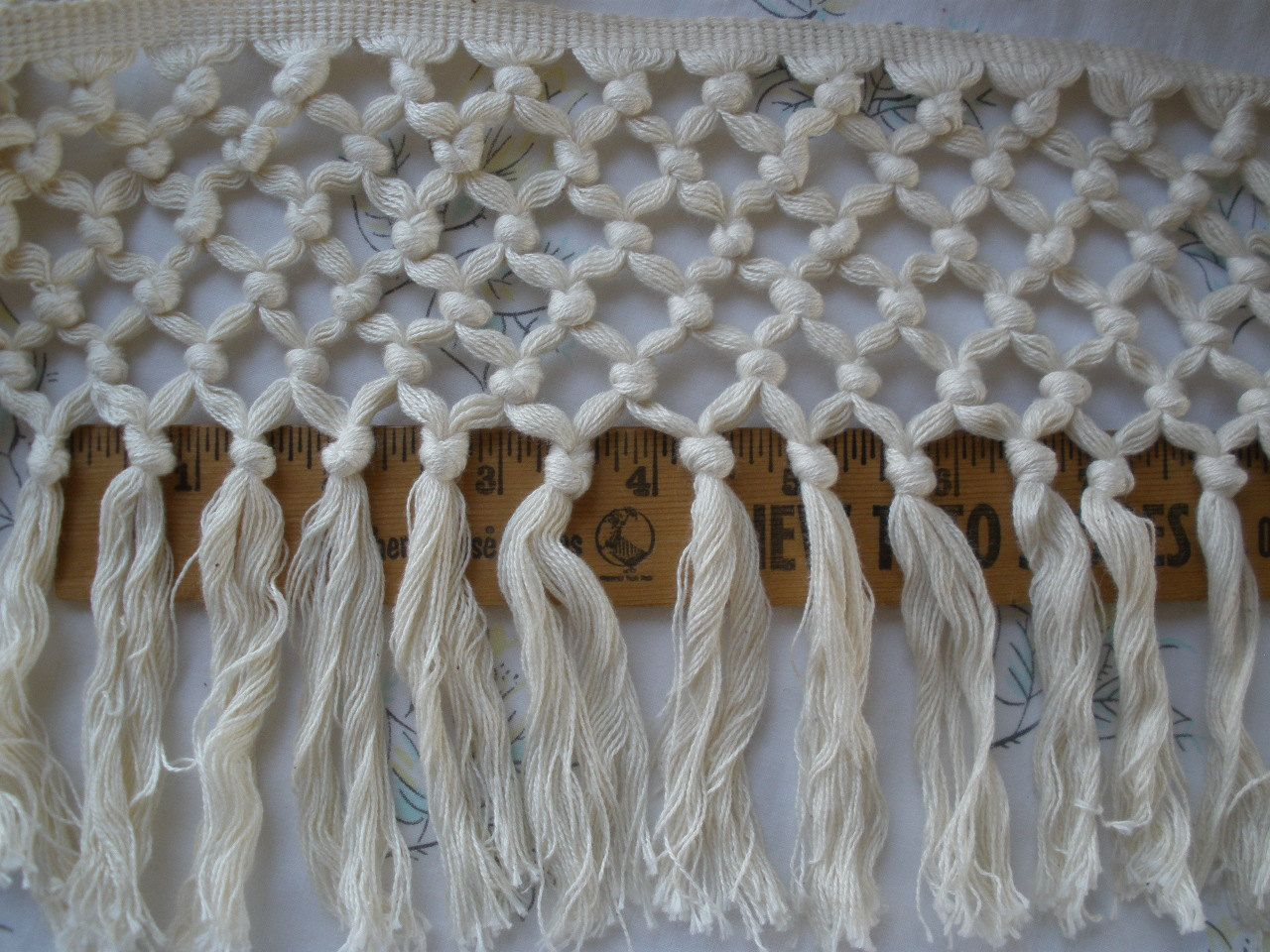 Boho Macrame Fringe Trim 6 Wide Cotton Blend Knotted   Etsy Inside 2017 Blended Fabric Fringed Design Woven With Rod (View 5 of 20)