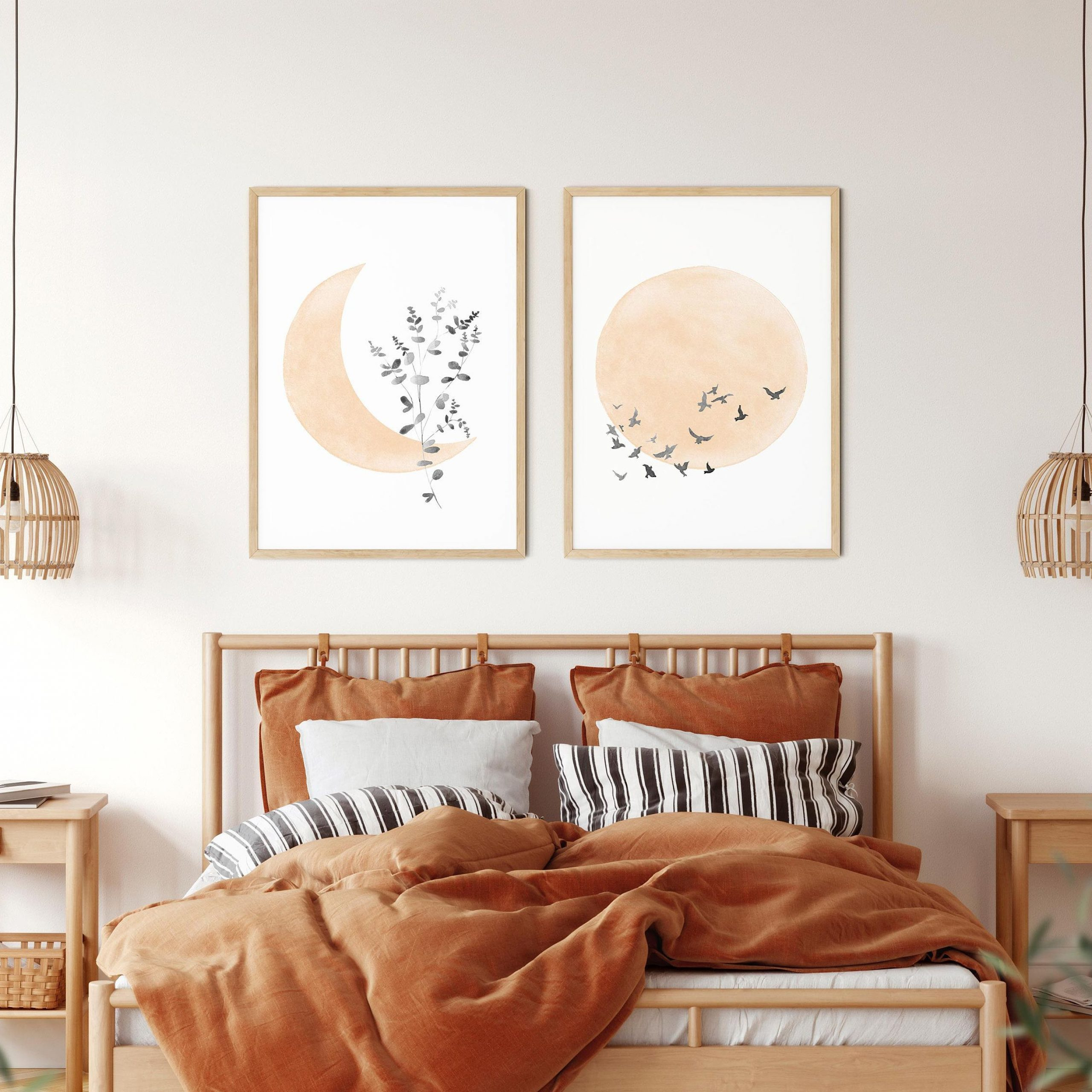Boho Sun And Moon Print Set Of 2, Minimalist Moon Art, Flock Pertaining To Most Current Blended Fabric Celestial Wall Hangings (set Of 3) (View 16 of 20)