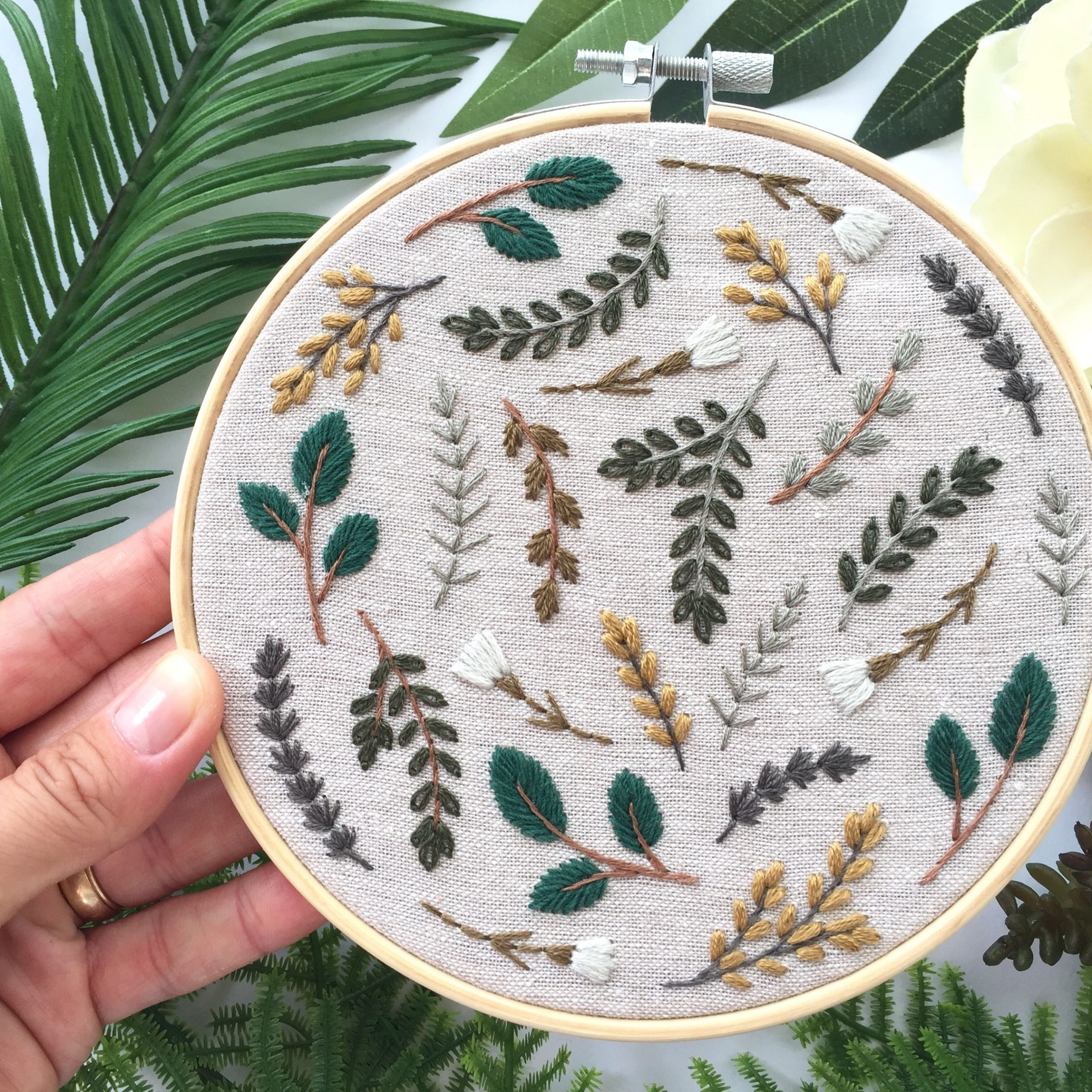 Botanical Embroidery Hoop, Cross Stitch Leaves And Flowers In 2017 Blended Fabric Leaf Wall Hangings (View 12 of 20)