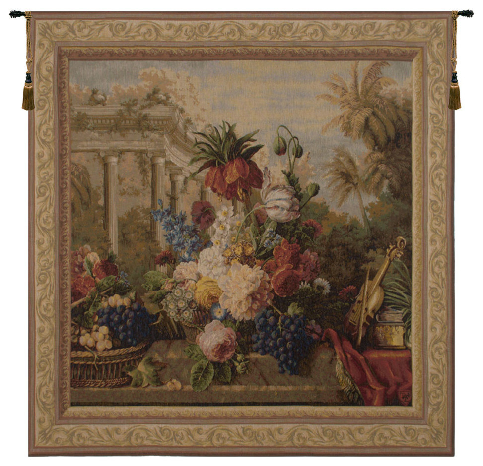 Bouquet Exotique Ii European Tapestry Wall Hanging For Recent European Le Point Deau Flamant Rose Tapestries (View 2 of 20)